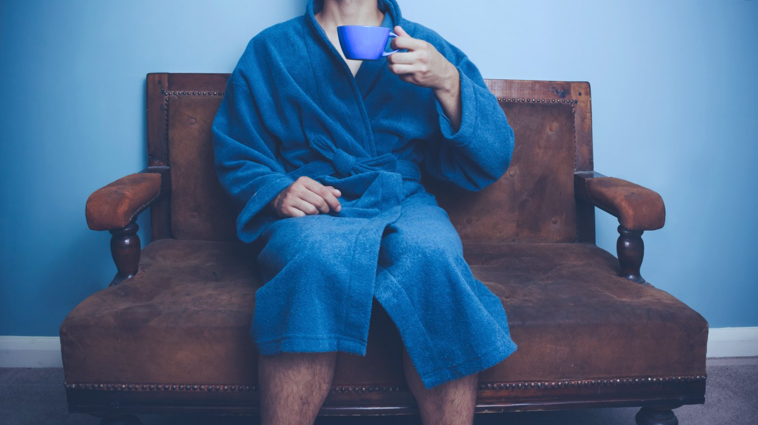 Featured | man holding cup wearingbathrobe | Coziest And Most Stylish Men's Bathrobes | men's bathrobe | mens terry cloth bathrobe