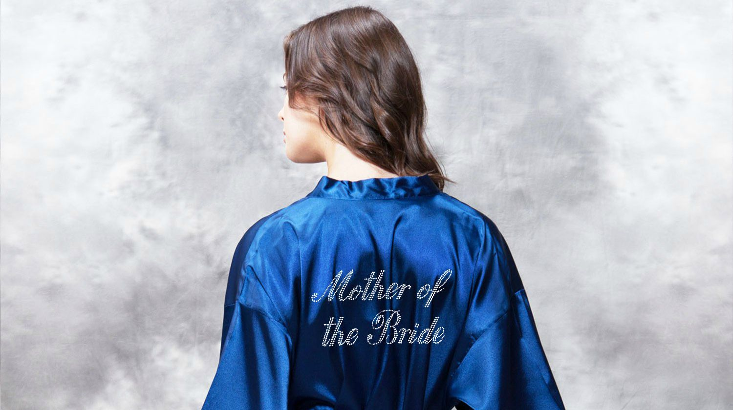 mother of the bride clear rhinestone satin kimono navy blue short robe | Mother Of The Bride Robe Embroidery Ideas | mother of the bride robe | mother of the bride robe wedding | Featured