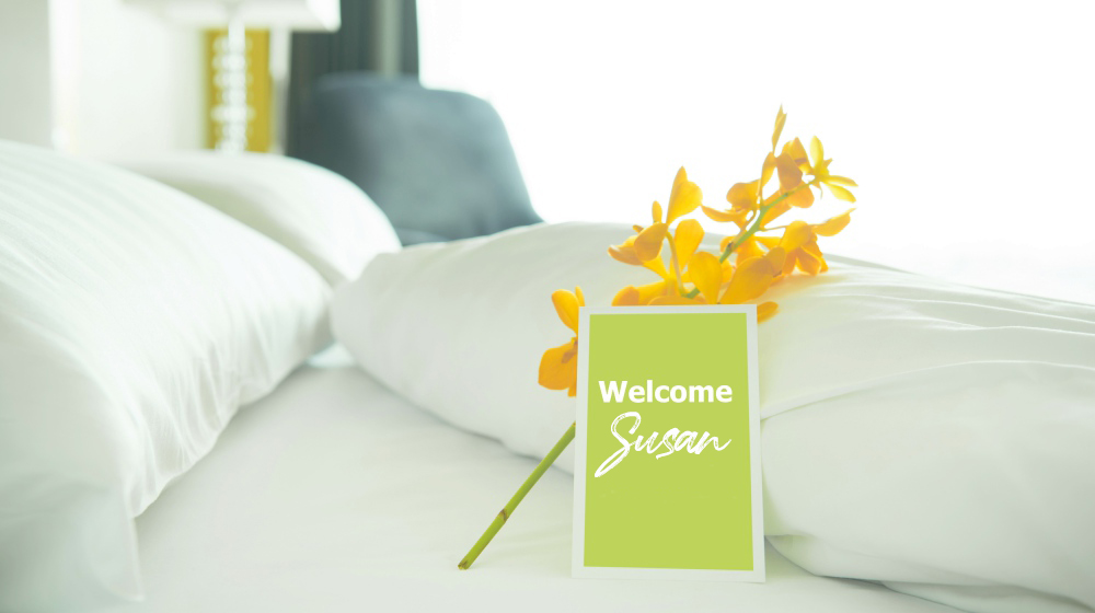 welcome card placed inside hotel room | Ways To Improve Hotel Guest Experience | hotel guest | guest experience