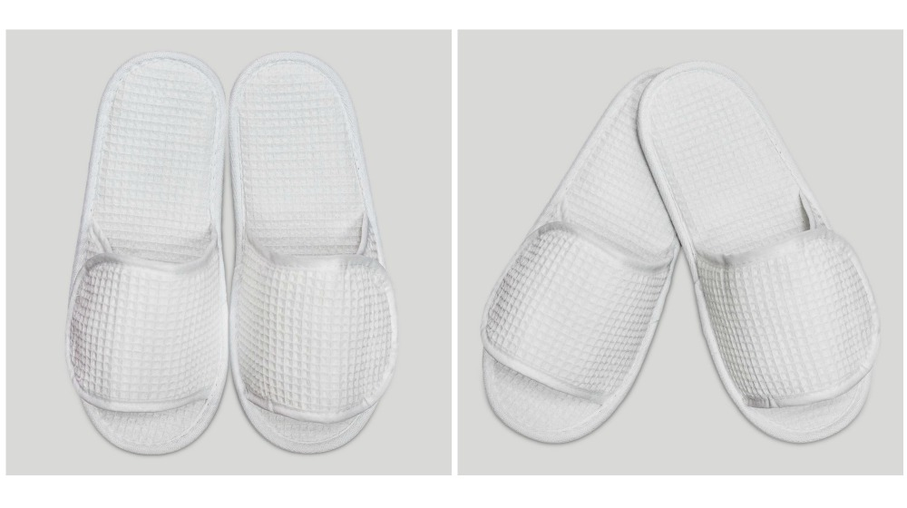 white velcro adjustable waffle adult slippers | Ways To Improve Hotel Guest Experience | hotel guest | customer experience