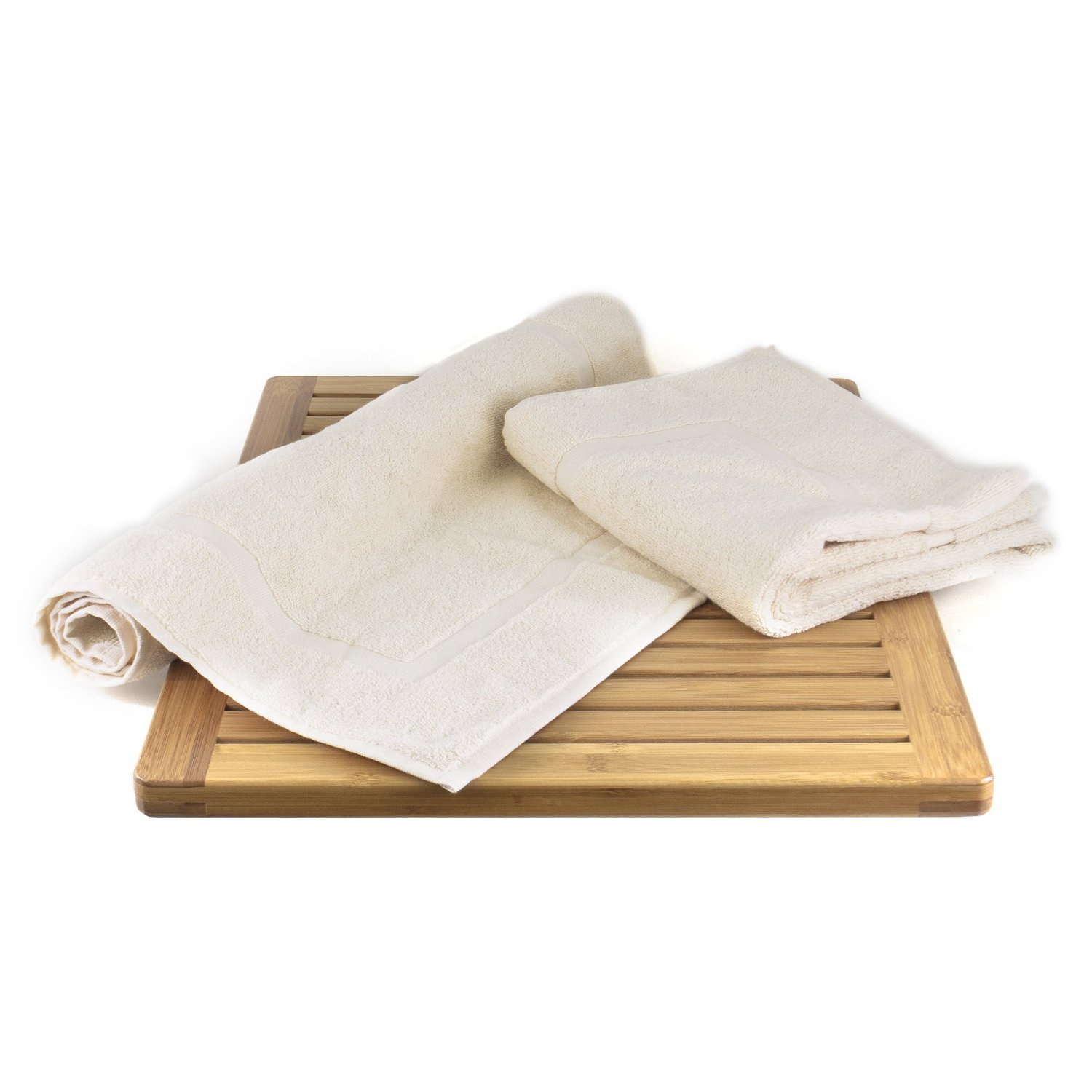 100% Turkish Cotton Beige Terry Bath Mat - Premium Frame-Robemart.com