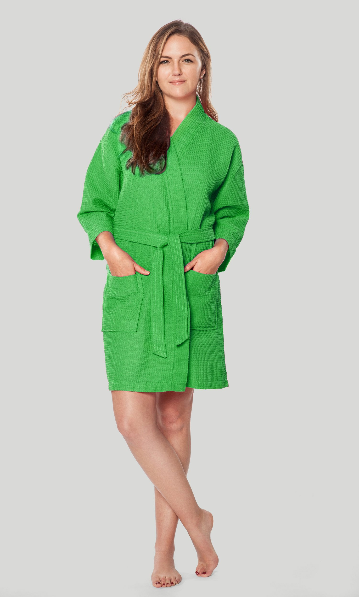 Economy Bathrobes    Thigh Length Waffle    Waffle Kimono Lime Green Short  Robe Square Pattern - Wholesale bathrobes 23f490fab