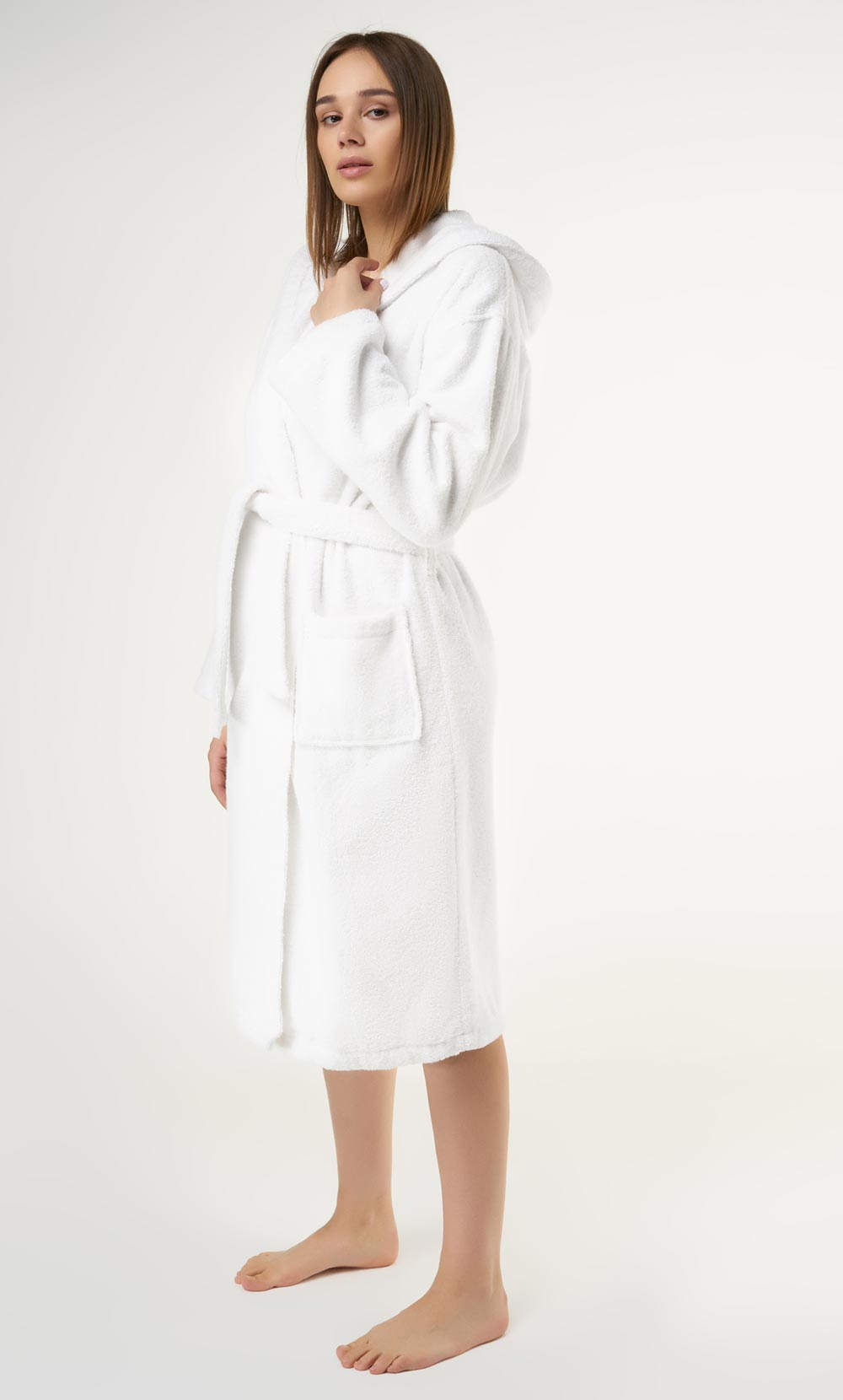 100% Turkish Cotton White Heavy Weight Hooded Terry Bathrobe-Robemart.com