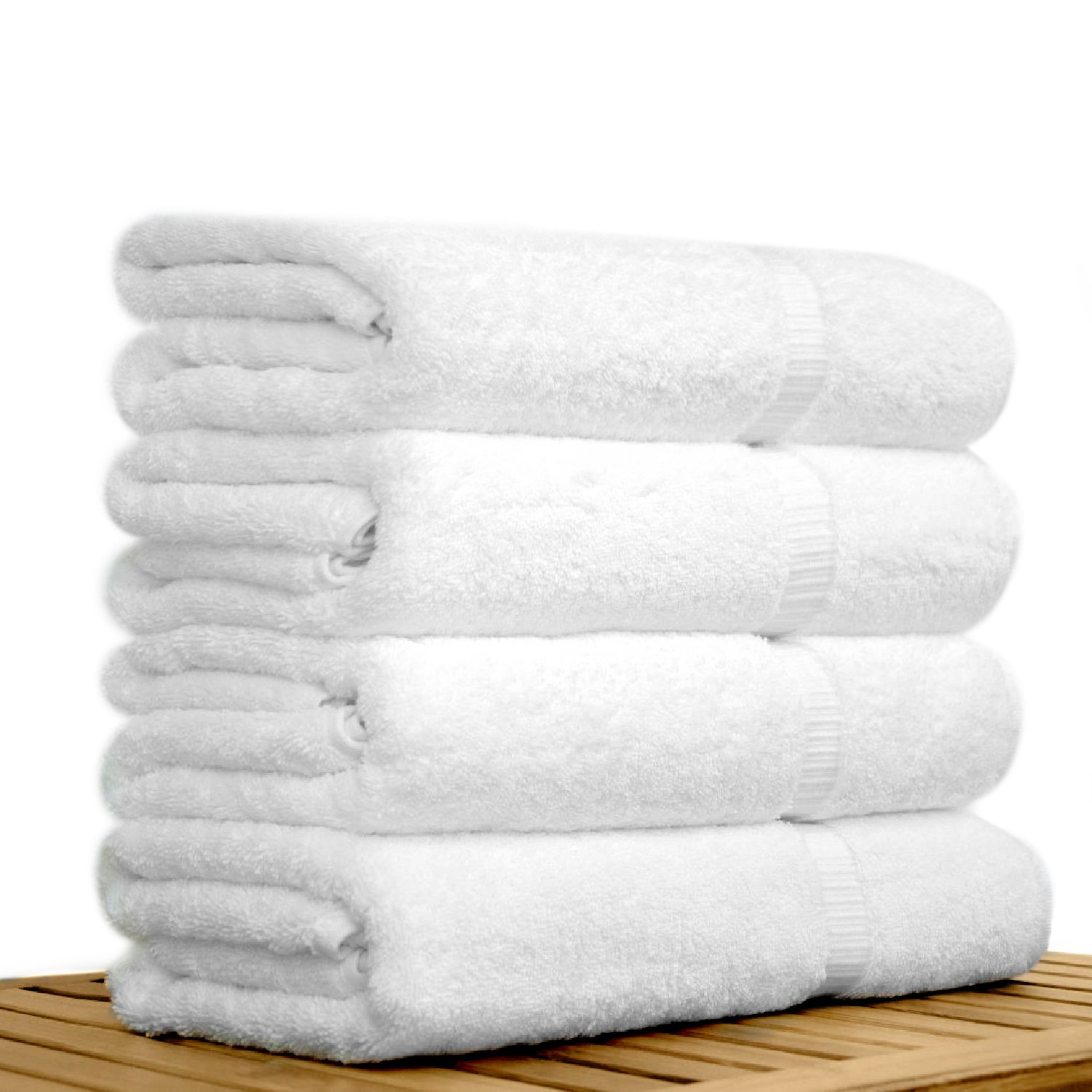 "27"" x 54"" - 17 lbs/doz - %100 Turkish Cotton Bamboo Blended Ultra Soft White Bath Towel-Robemart.com"