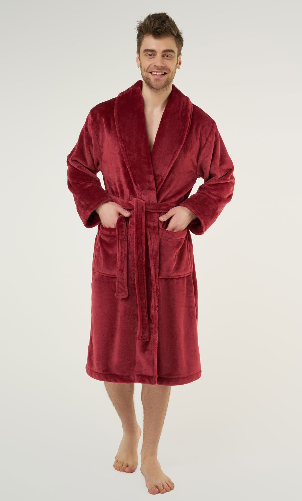 Burgundy Super Soft Tahoe Microfleece Shawl Collar Robe-Robemart.com