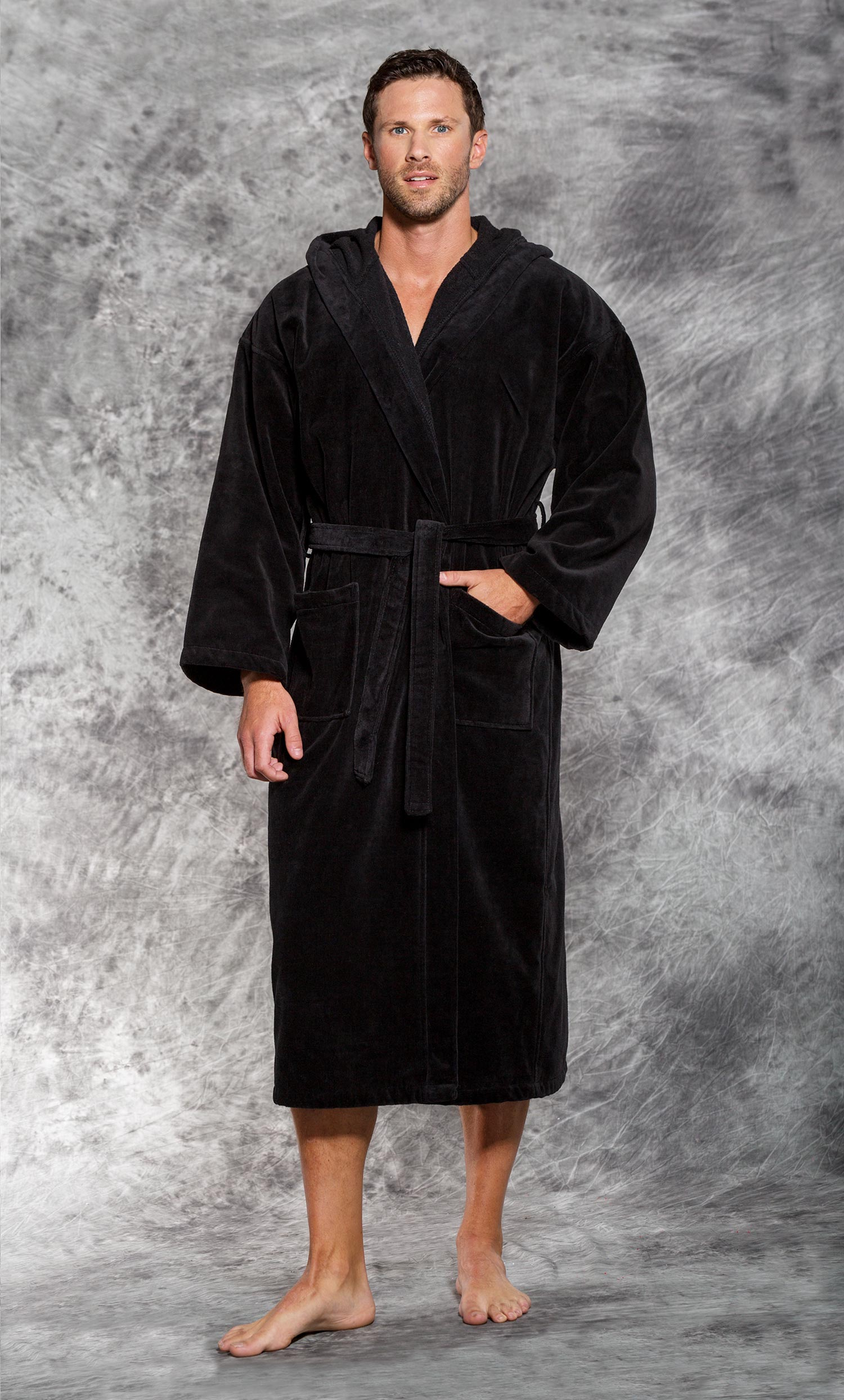 bf9cd24ab3 Luxury Bathrobes   Robes    Terry Velour Bathrobes    Terry Velour Hooded  Bathrobes    100% Turkish Cotton Black Hooded Terry   Velour Bathrobe -  Wholesale ...