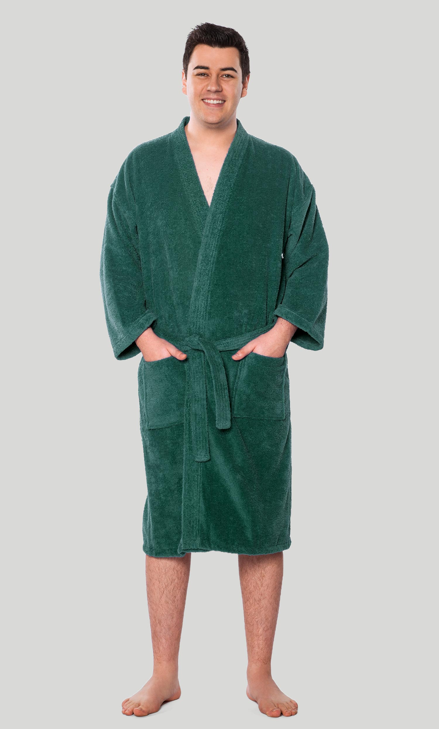 f65c2aa10b Economy Bathrobes    Terry Kimono Bathrobes    100% Turkish Cotton Forest  Green Terry Kimono Bathrobe - Wholesale bathrobes