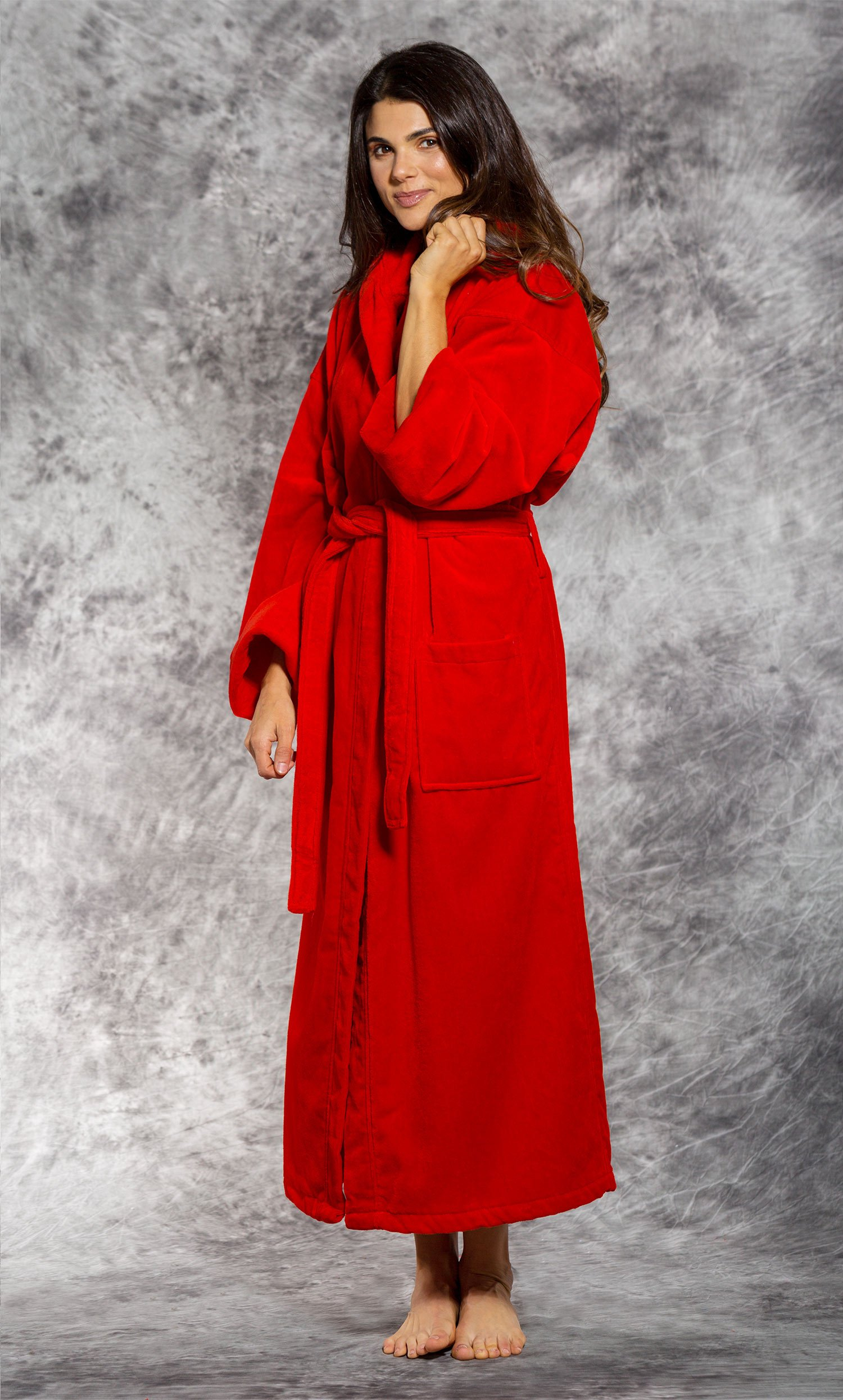 100% Turkish Cotton Red Hooded Terry / Velour Bathrobe-Robemart.com