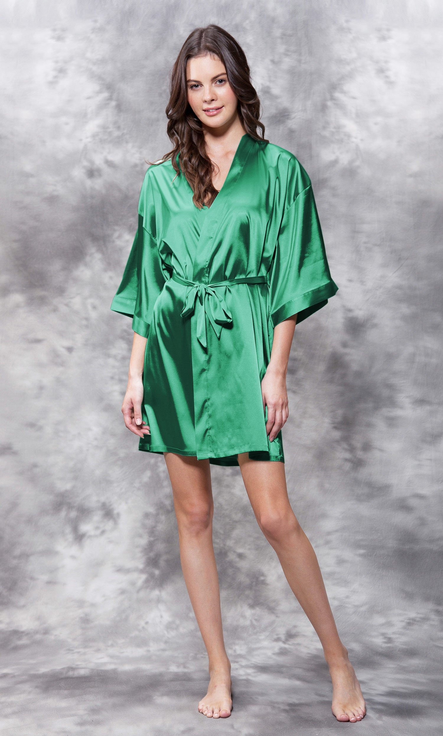 Maid of Honor Clear Rhinestone Satin Kimono Lush Meadow Green Short Robe-Robemart.com