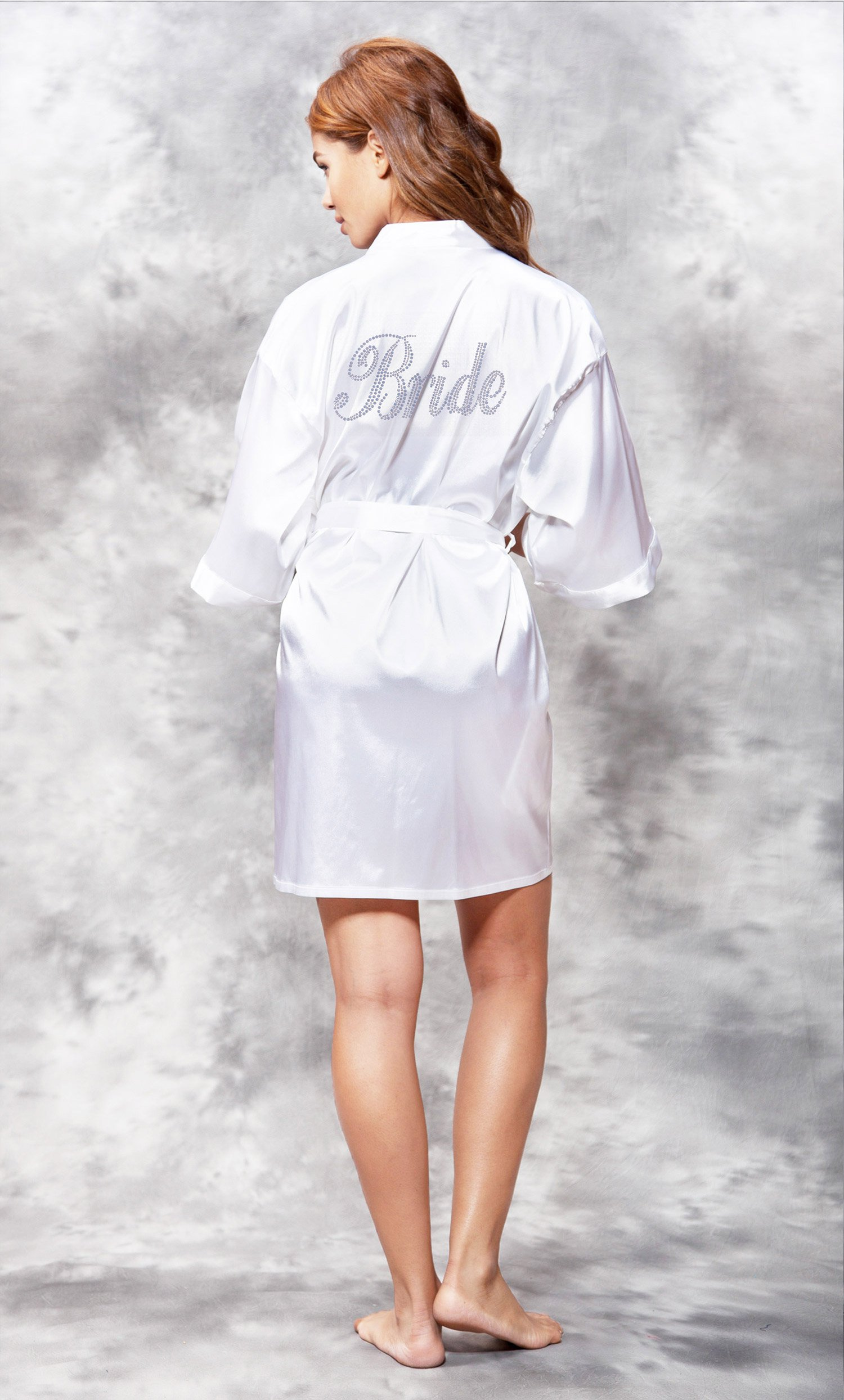 Bride Light Blue Rhinestone Satin Kimono White Short Robe-Robemart.com