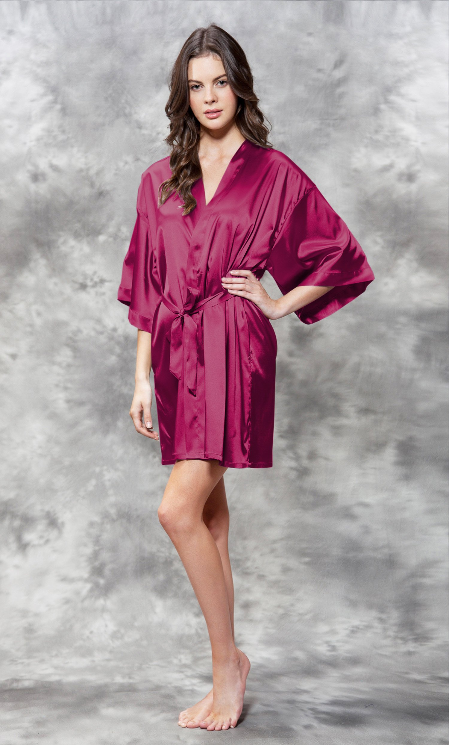 Bridesmaid Clear Rhinestone Satin Kimono Wine Red Short Robe-Robemart.com