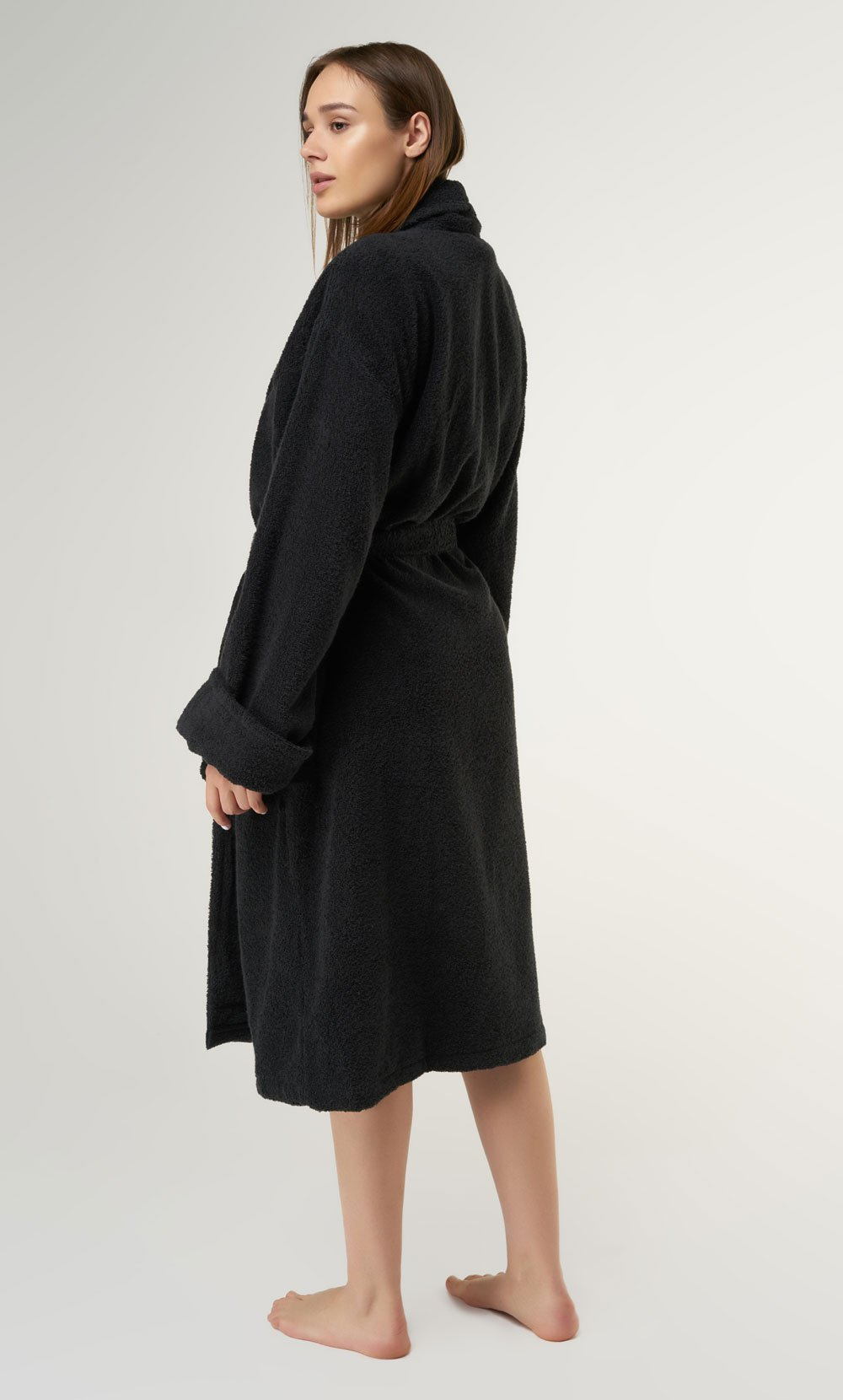 100% Turkish Cotton Black Shawl Terry Bathrobe-Robemart.com