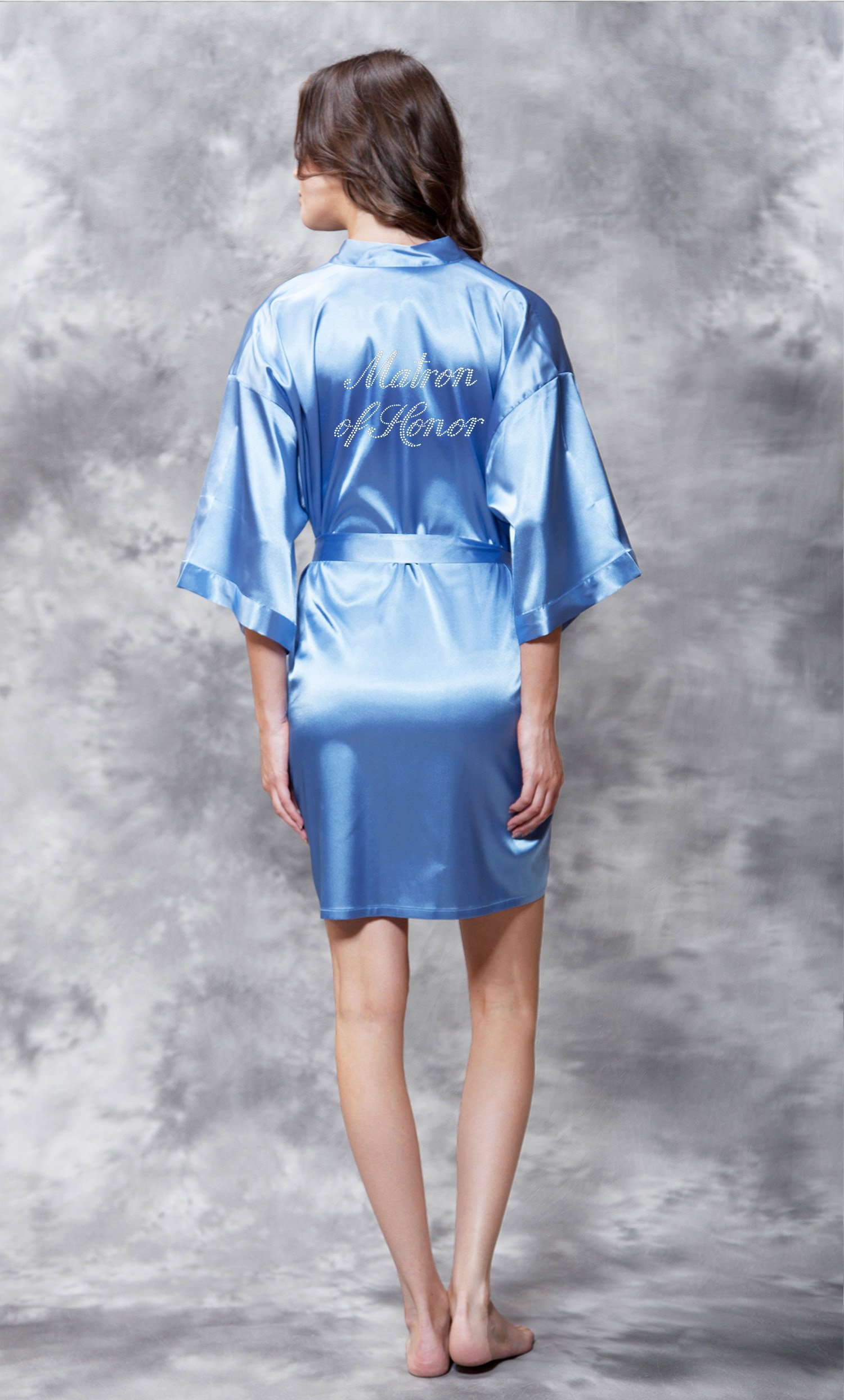 Matron of Honor Clear Rhinestone Satin Kimono Airy Blue Short Robe-Robemart.com