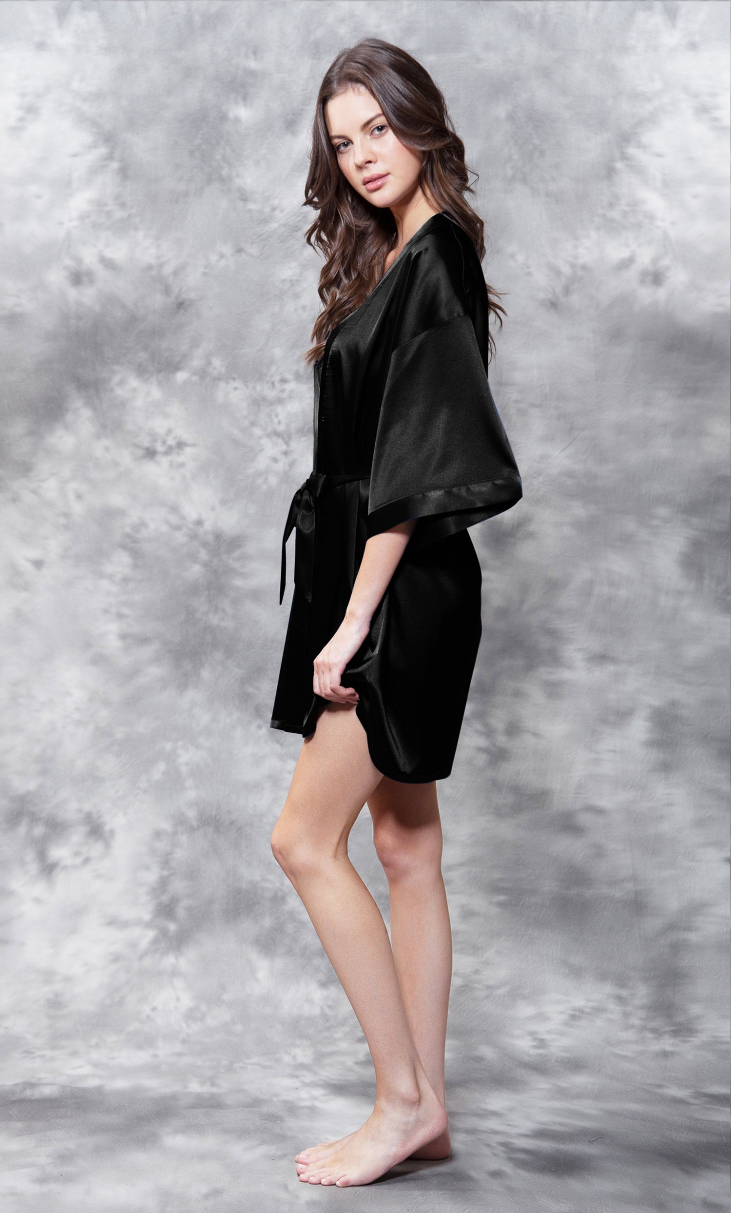 Maid of Honor Clear Rhinestone Satin Kimono Black Short Robe-Robemart.com