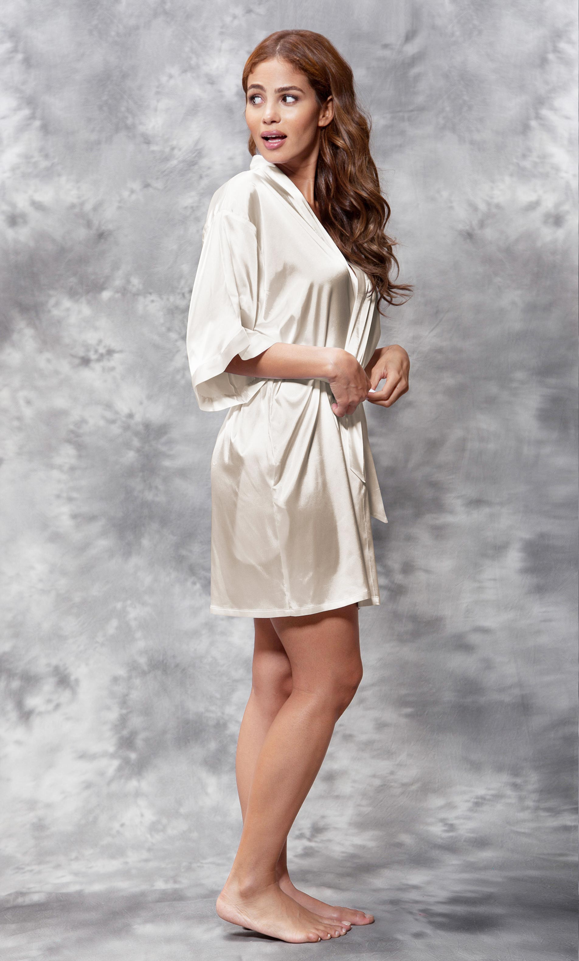 Mother of the Groom Clear Rhinestone Satin Kimono Champagne Short Robe-Robemart.com