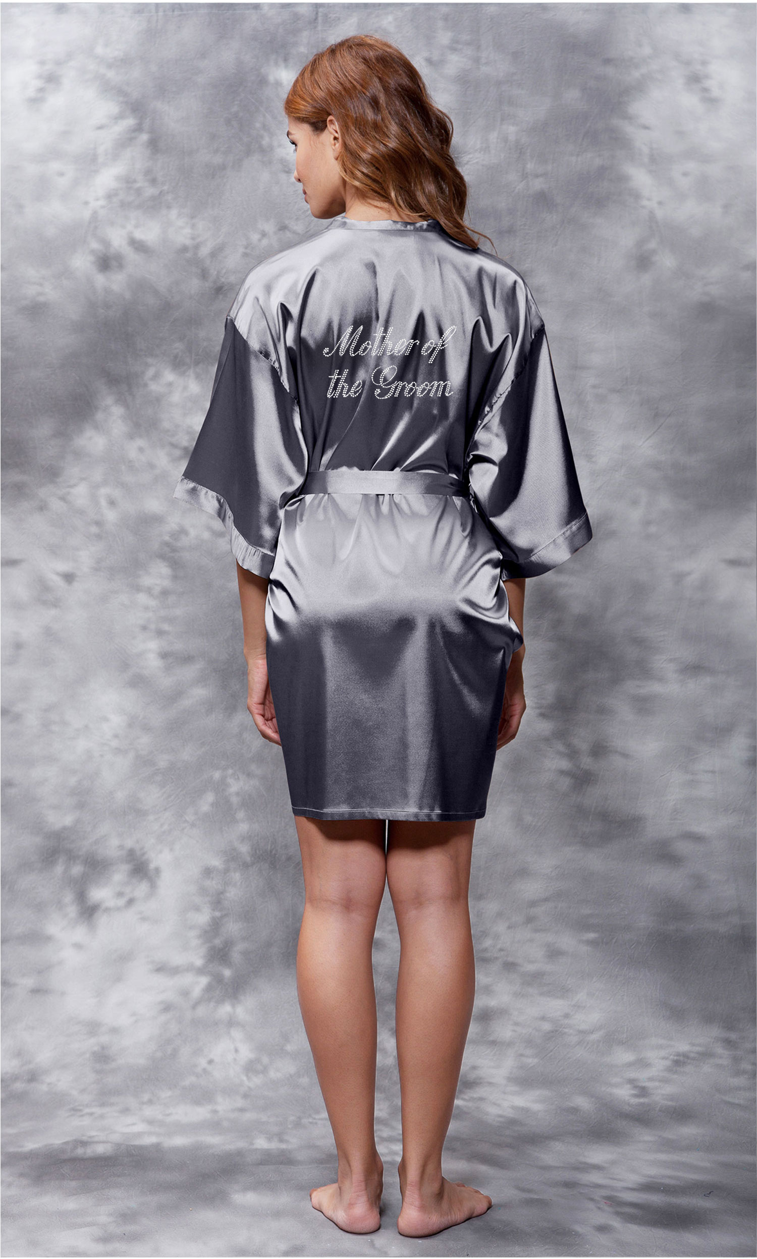 Mother of the Groom Clear Rhinestone Satin Kimono Charcoal Short Robe-Robemart.com