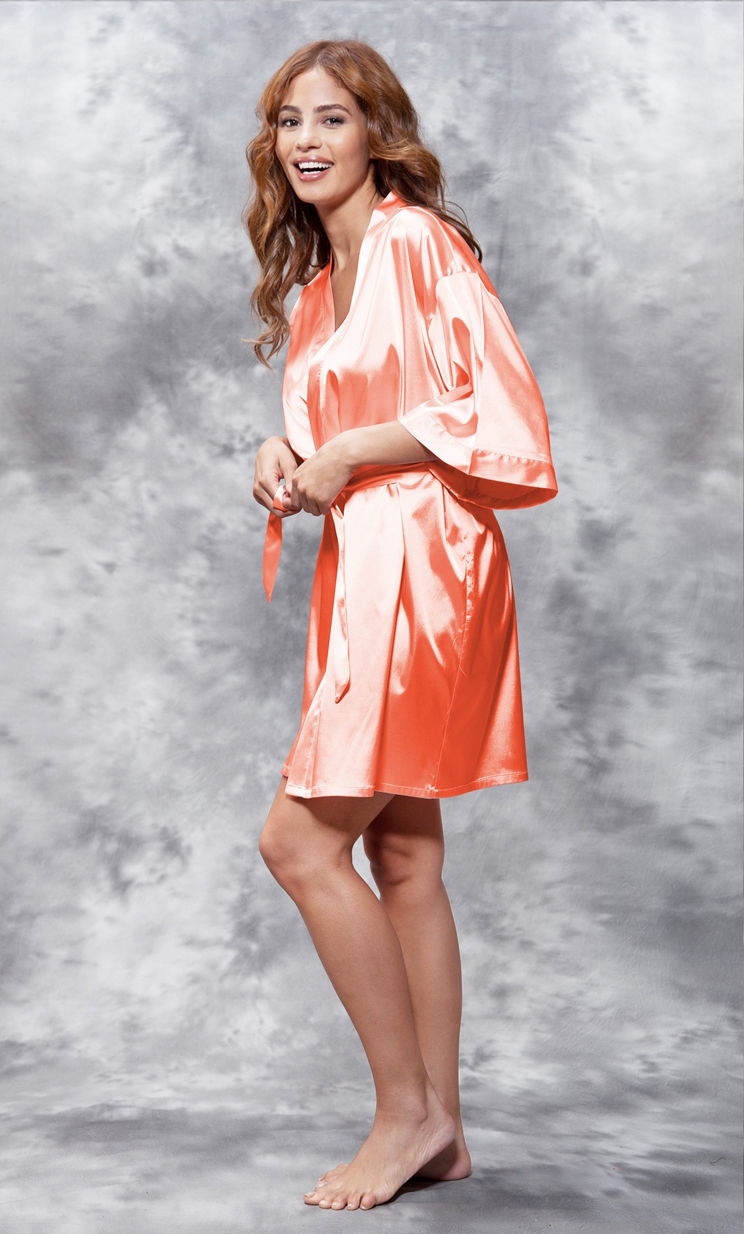 Mother of the Groom Clear Rhinestone Satin Kimono Coral Short Robe-Robemart.com