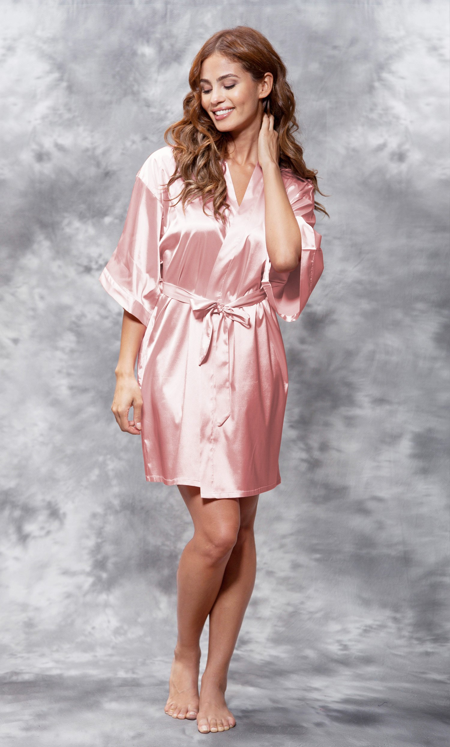 Matron of Honor Clear Rhinestone Satin Kimono Light Pink Short Robe-Robemart.com