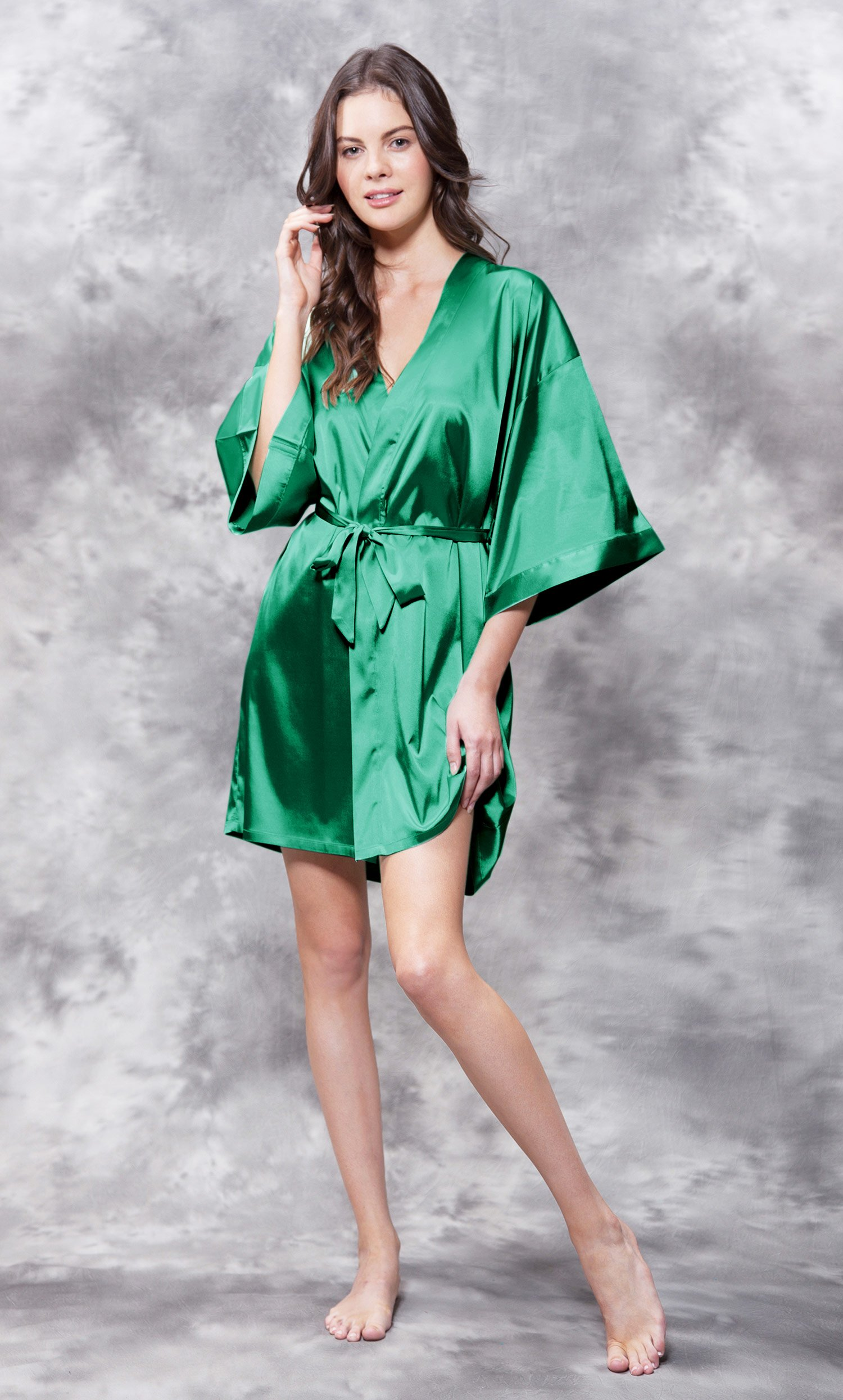 Matron of Honor Clear Rhinestone Satin Kimono Lush Meadow Green Short Robe-Robemart.com