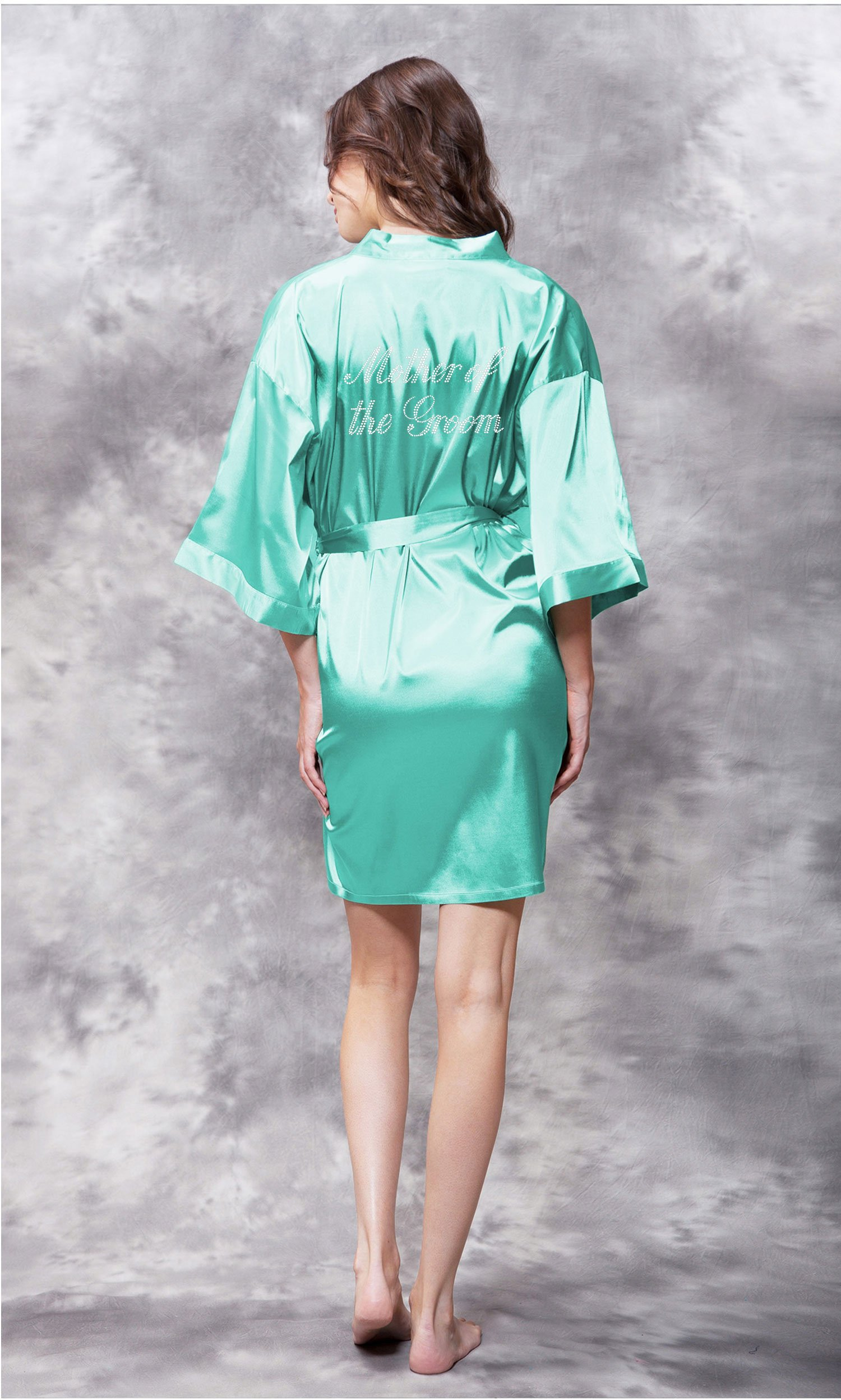 Mother of the Groom Clear Rhinestone Satin Kimono Mint Green Short Robe-Robemart.com