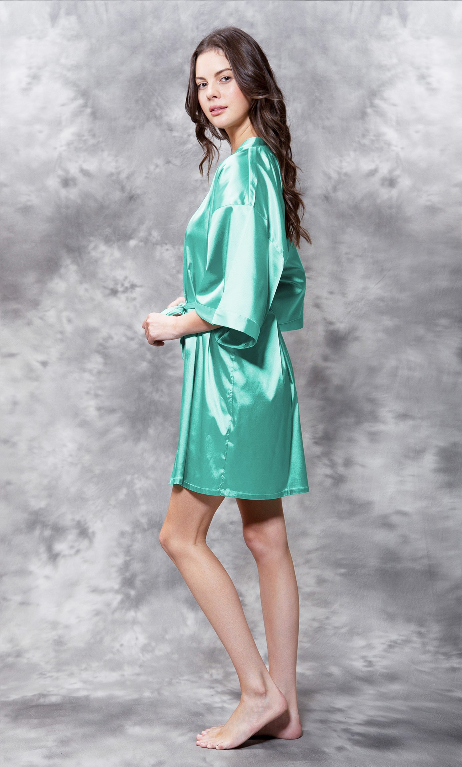 Matron of Honor Clear Rhinestone Satin Kimono Mint Green Short Robe-Robemart.com