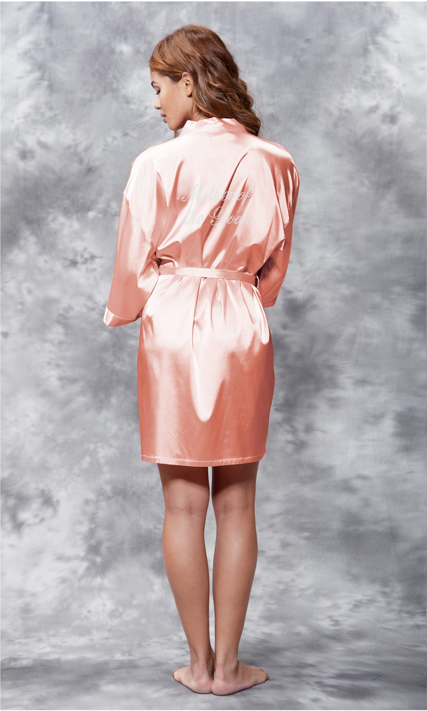Mother of Groom the Clear Rhinestone Satin Kimono Peach Short Robe-Robemart.com