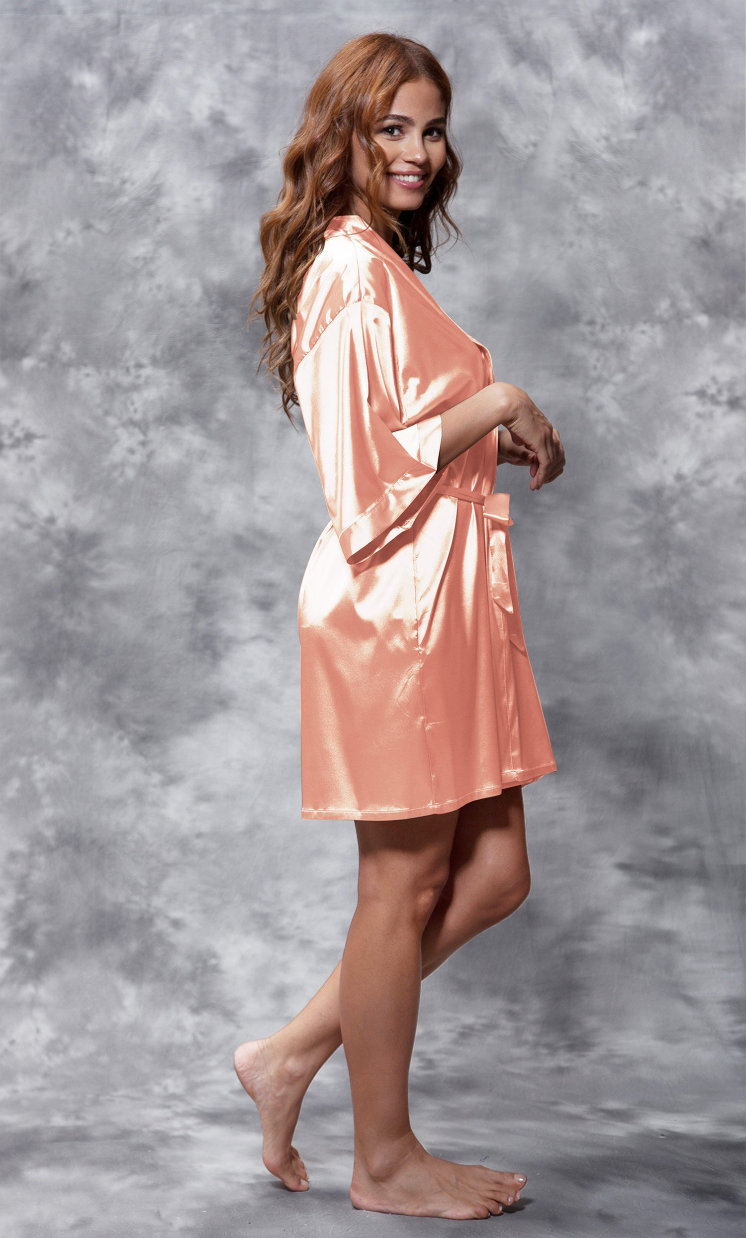 Bridesmaid Clear Rhinestone Satin Kimono Peach Short Robe-Robemart.com