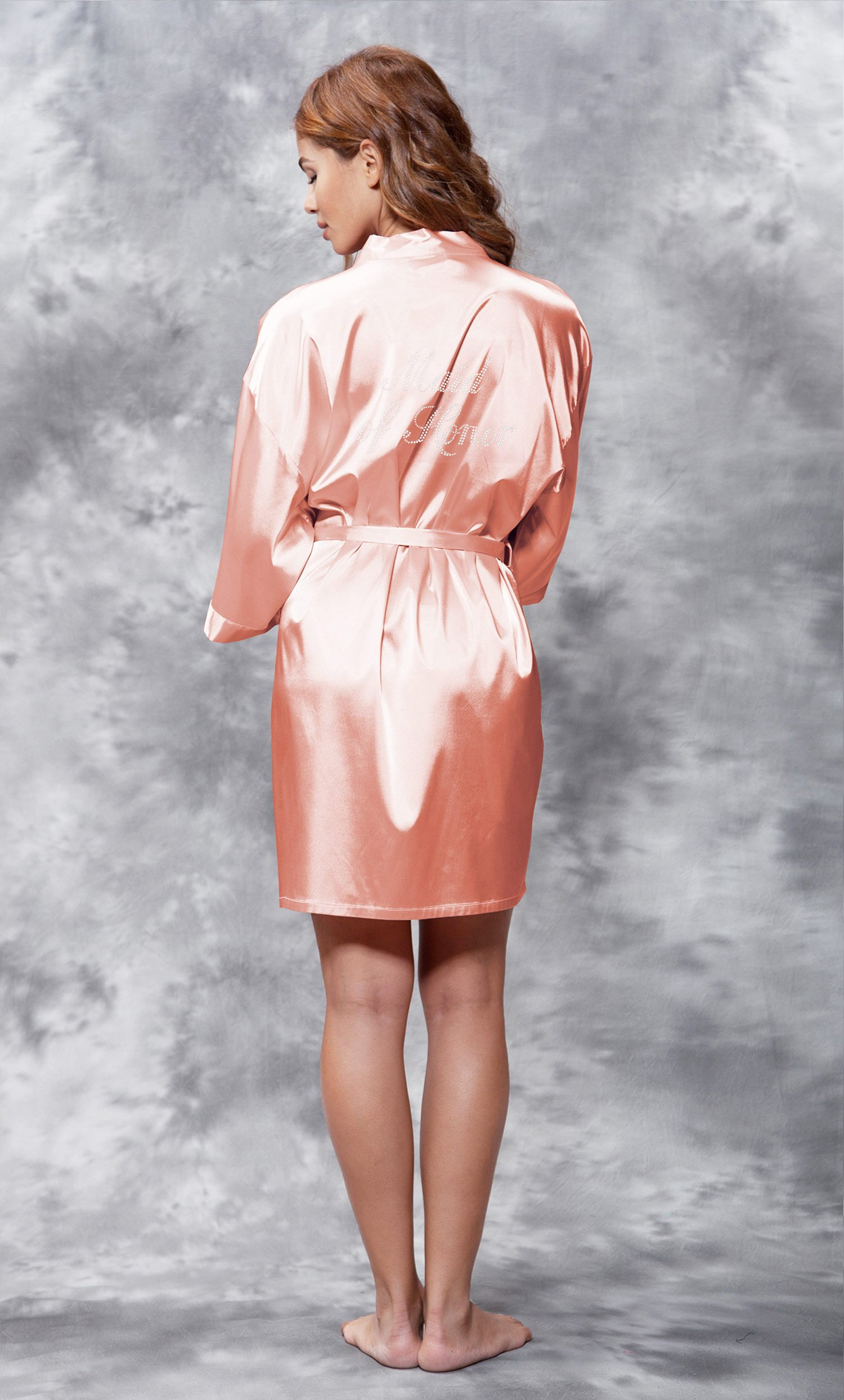 Maid of Honor Clear Rhinestone Satin Kimono Peach Short Robe-Robemart.com