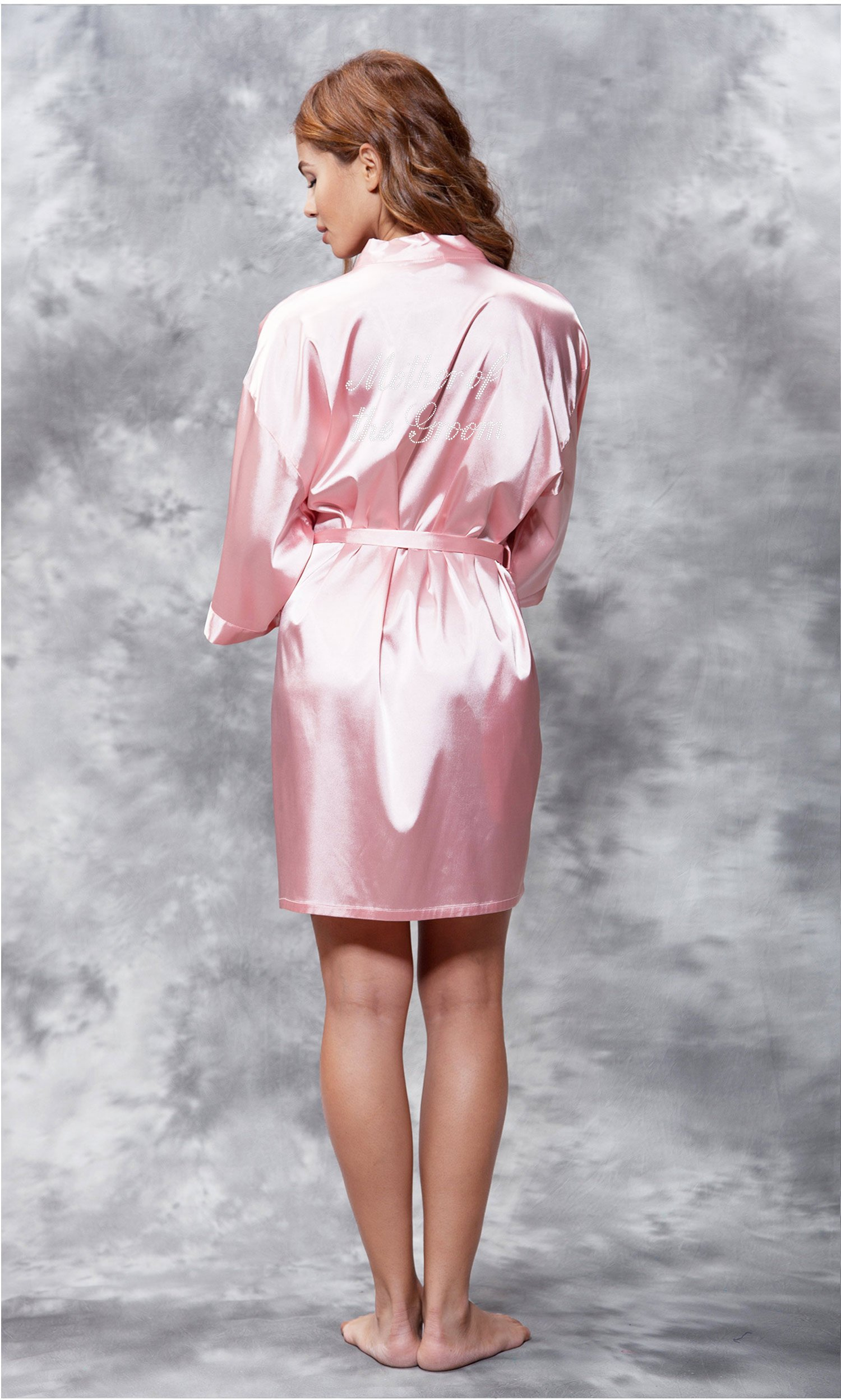 Mother of the Groom Clear Rhinestone Satin Kimono Pink Short Robe-Robemart.com
