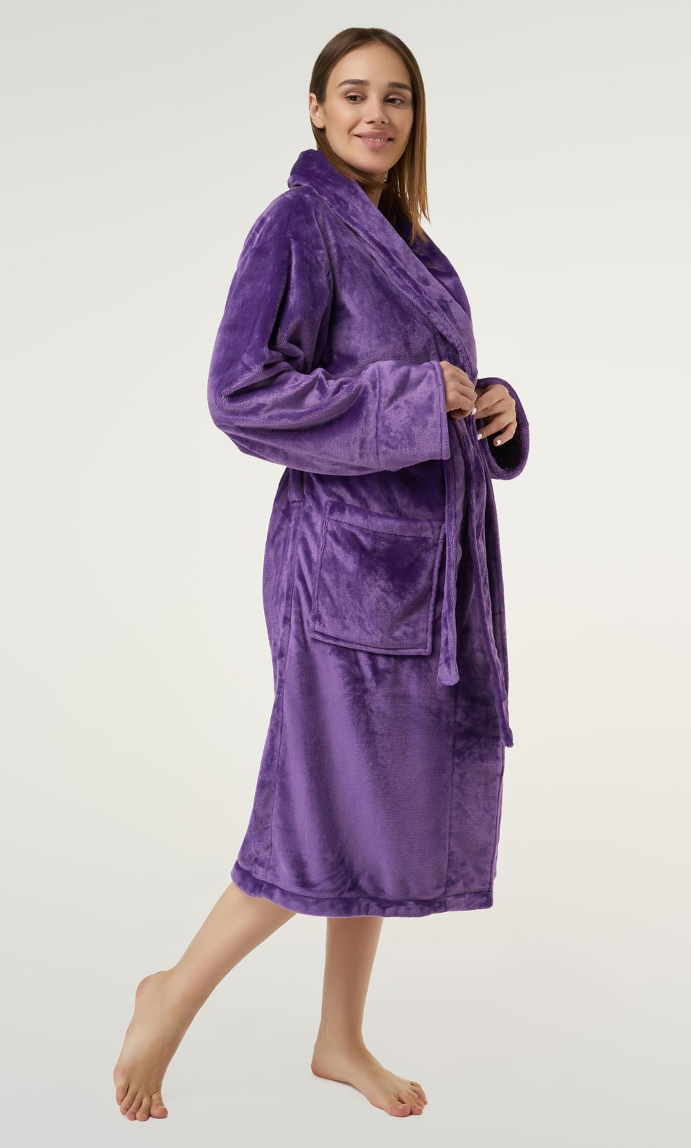 Purple Super Soft Tahoe Microfleece Shawl Collar Robe-Robemart.com