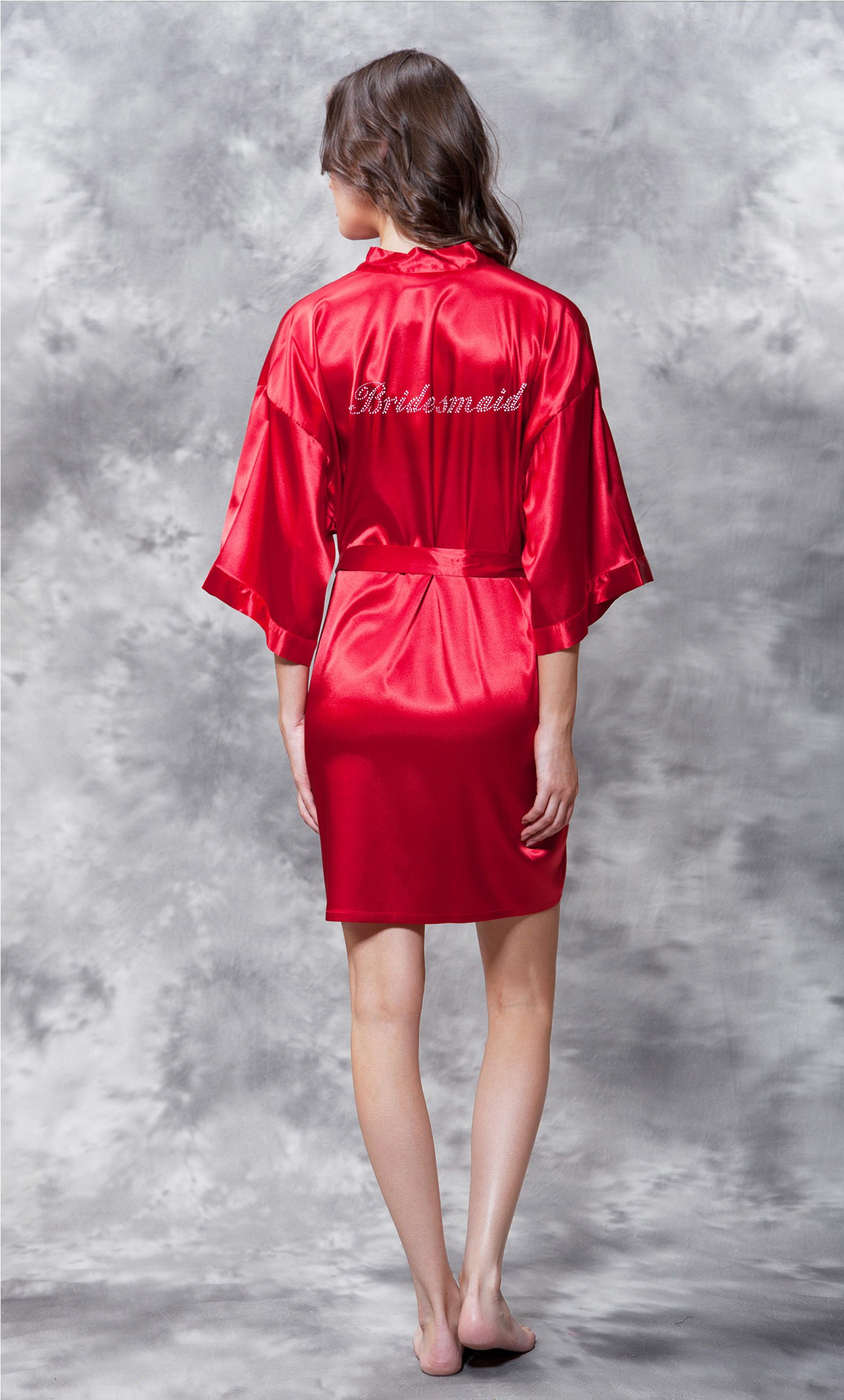 Bridesmaid Clear Rhinestone Satin Kimono  Short Robe - Final Sale-Robemart.com