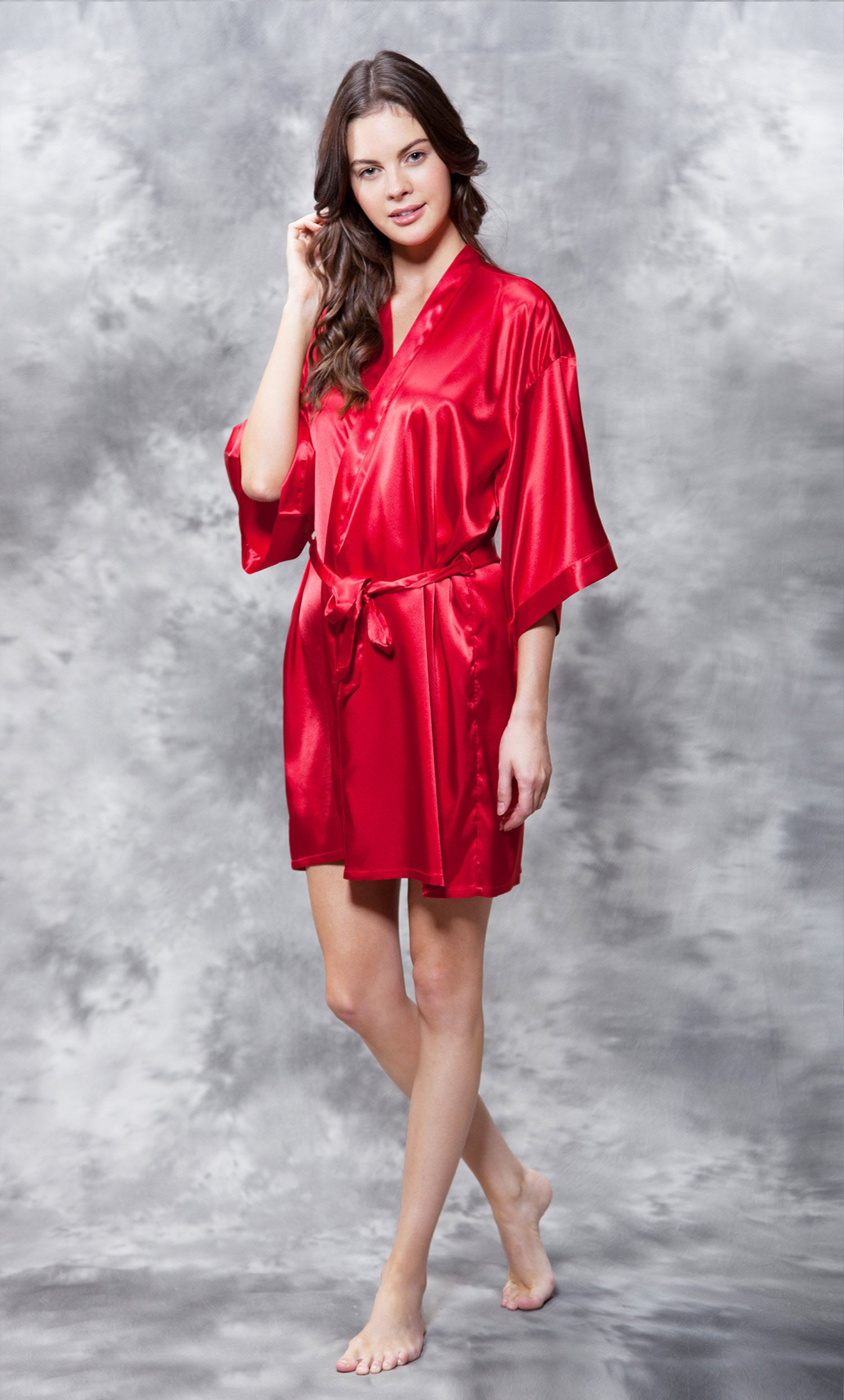 Mother of the Groom Clear Rhinestone Satin Kimono Red Short Robe-Robemart.com