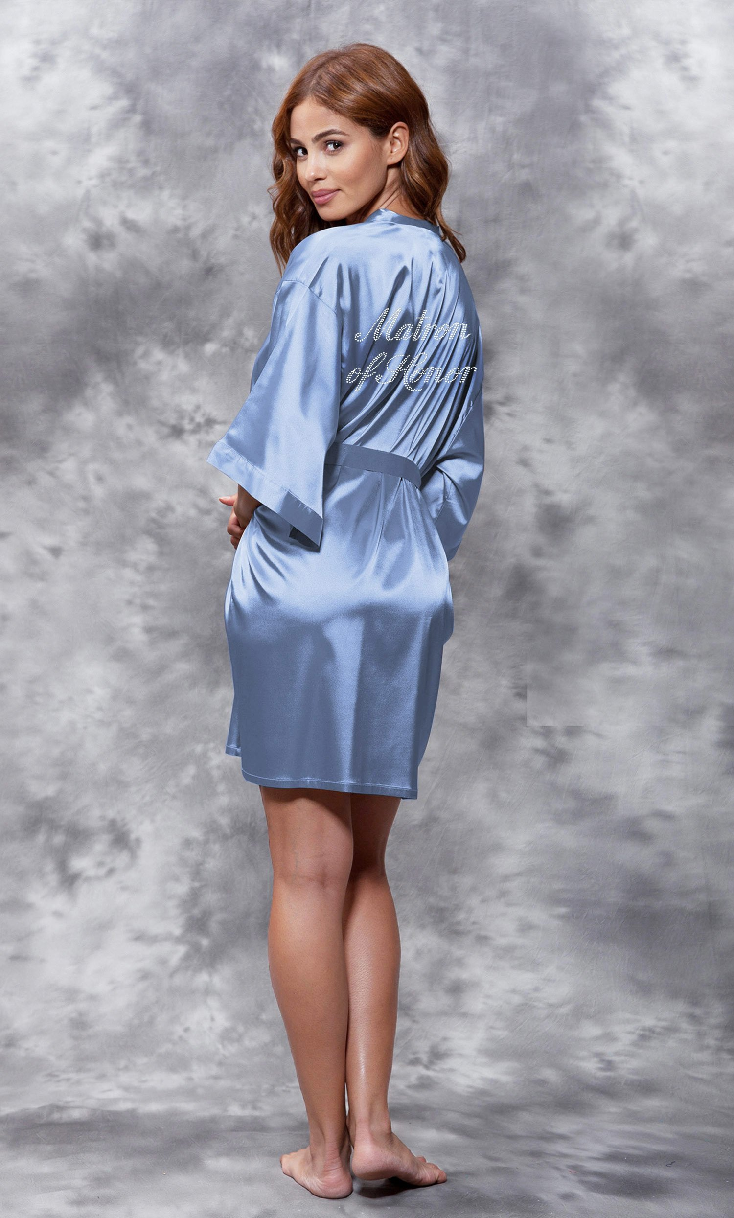 Matron of Honor Clear Rhinestone Satin Kimono Riverside Blue Short Robe-Robemart.com