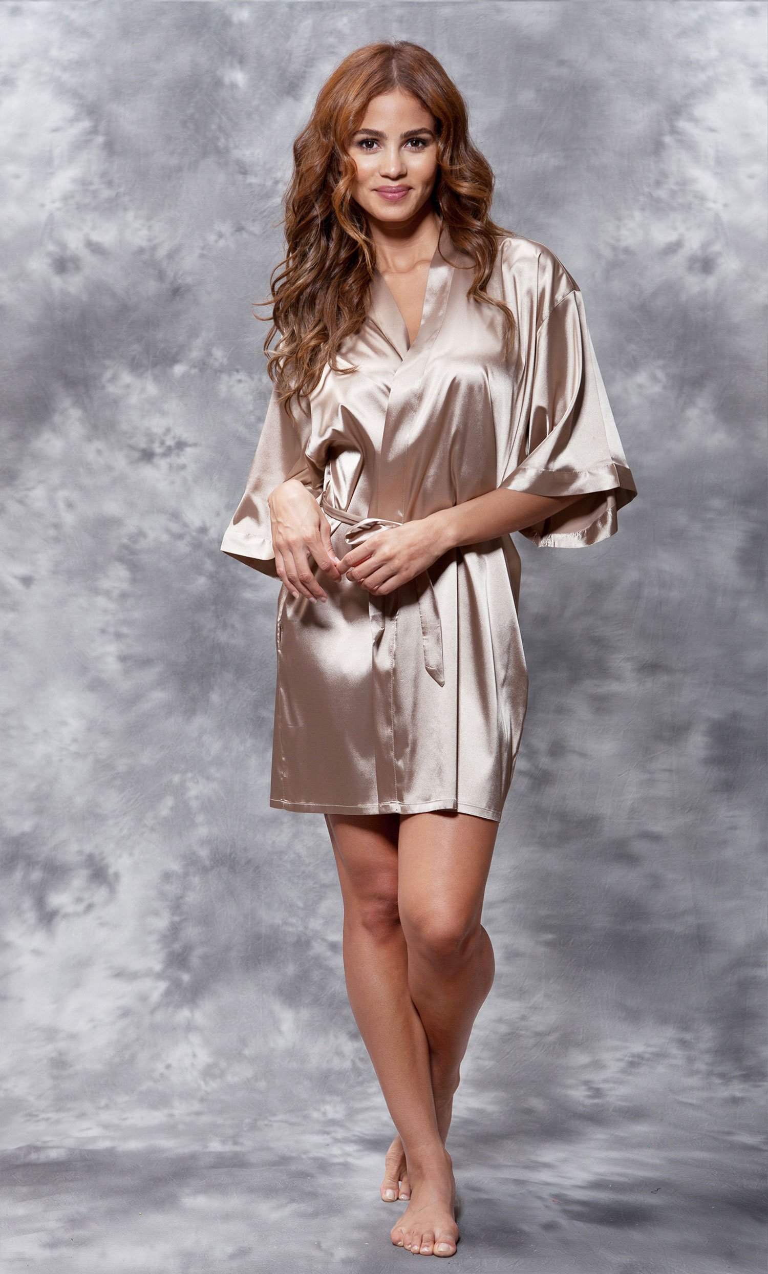 Mother of the Groom Clear Rhinestone Satin Kimono Taupe Short Robe-Robemart.com