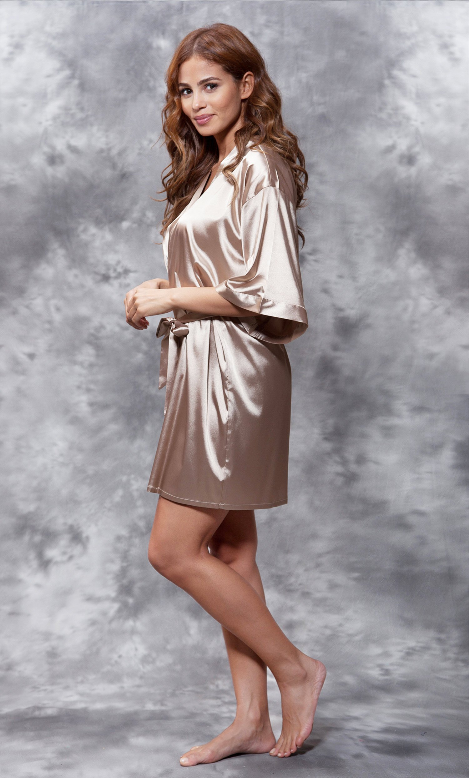 Maid of Honor Clear Rhinestone Satin Kimono Taupe Short Robe-Robemart.com