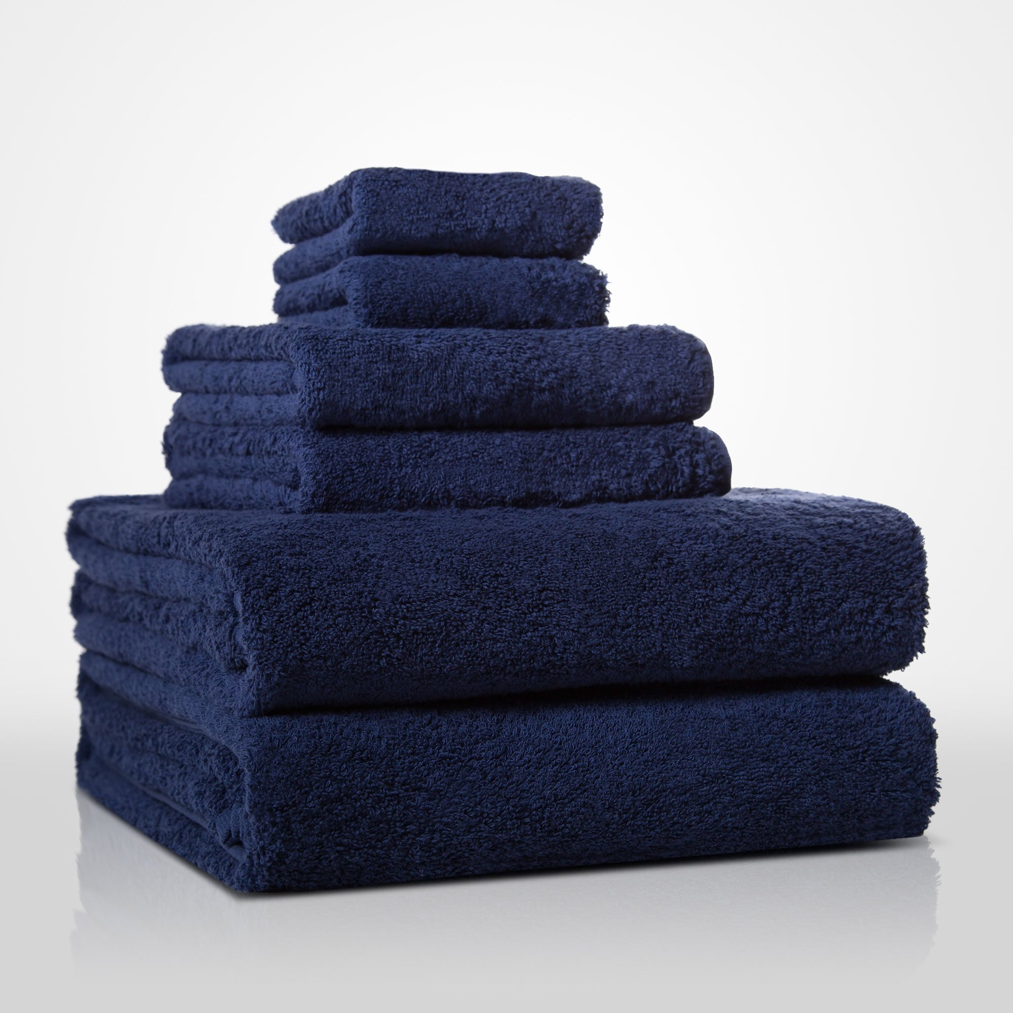 "13"" x 13"" - 100% Turkish Cotton Navy Blue Terry Washcloth-Robemart.com"