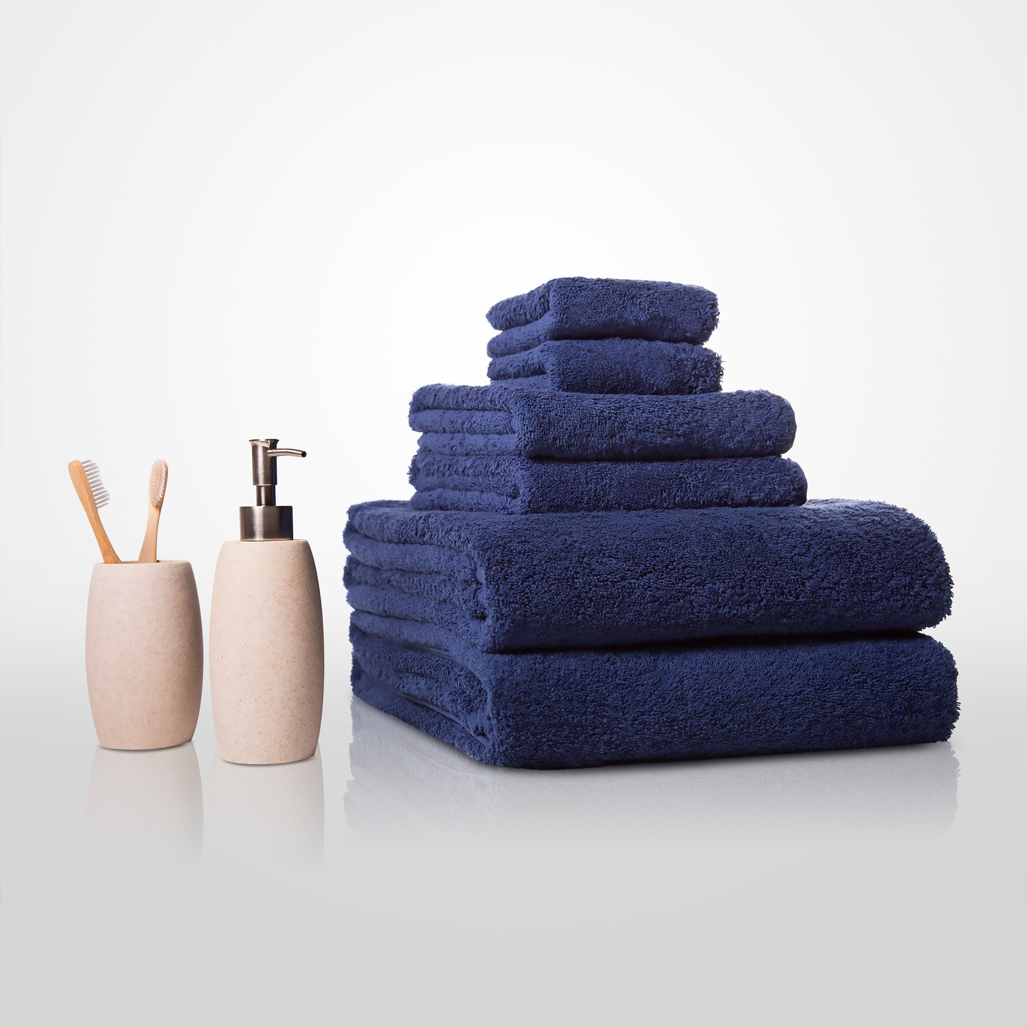 "35""x 60"" - 100% Turkish Cotton Navy Blue Terry Bath Towel-Robemart.com"