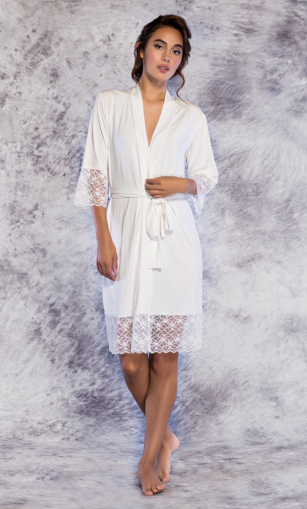 bd046dc091 Women s    Women s Sleepwear    Lace Robe    100% Bamboo Lace Trim Ivory Women s  Kimono Robe - Wholesale bathrobes