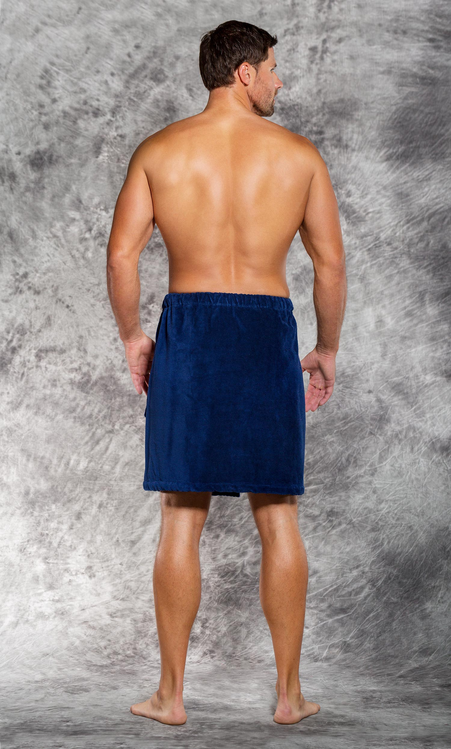 100% Cotton Men Navy Blue Terry Velour Cloth Body Wrap, Bath Towel Wrap-Robemart.com