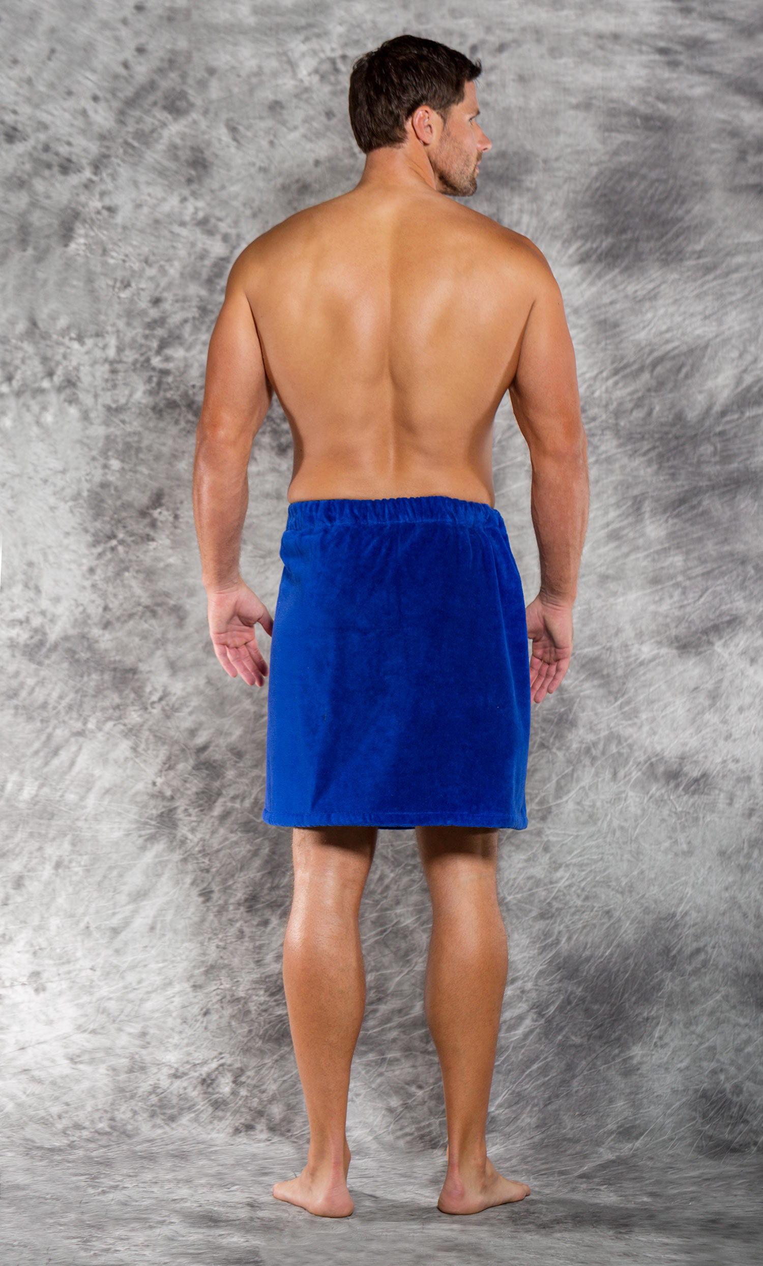 100% Cotton Men Royal Blue Terry Velour Cloth Body Wrap, Bath Towel Wrap-Robemart.com