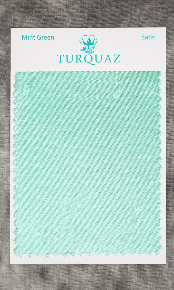 Mint Green Satin Fabric Swatch - Free Shipping-Robemart.com