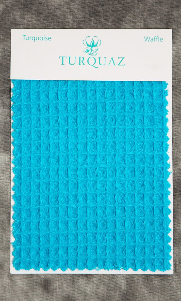 Turquoise Waffle Fabric Swatch - Free Shipping-Robemart.com
