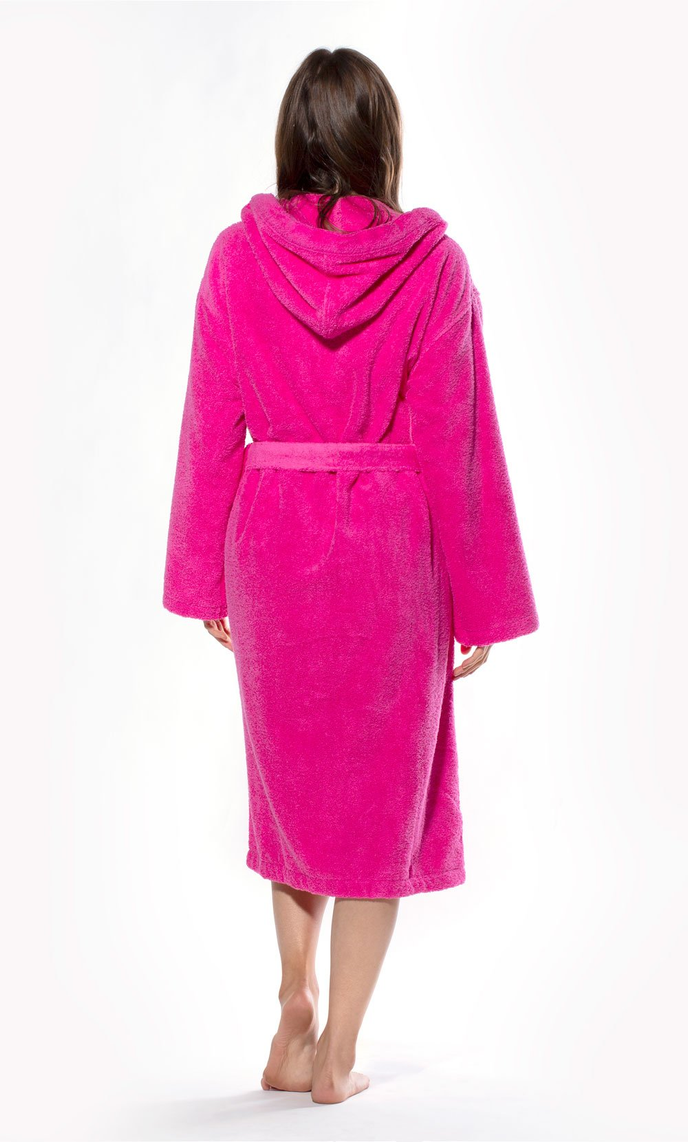 100% Turkish Cotton Fuchsia Heavy Weight Hooded Terry Bathrobe-Robemart.com