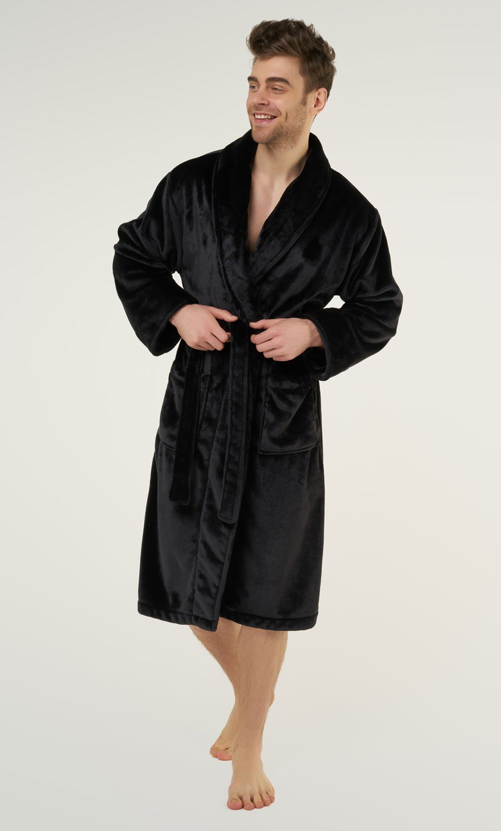Black Super Soft Tahoe Microfleece Shawl Collar Robe-Robemart.com