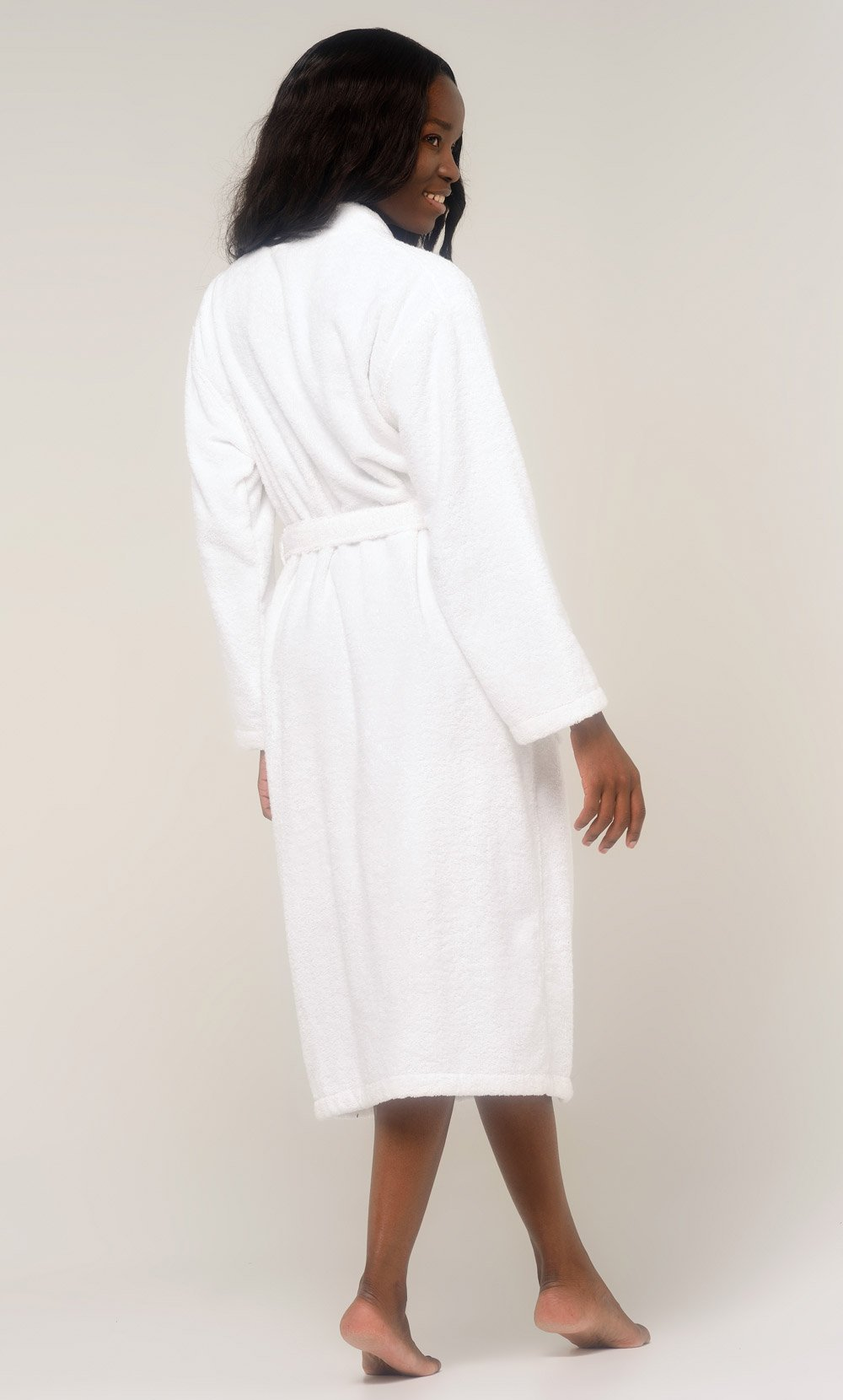 100% Turkish Cotton White Terry Kimono Bathrobe-Robemart.com