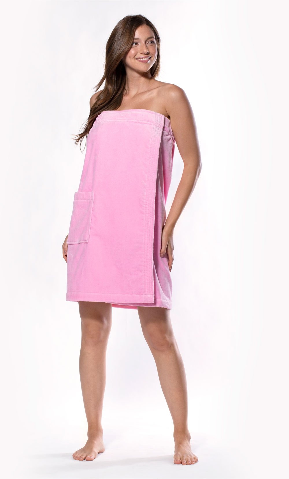 100% Cotton Pink Terry Velour Cloth Spa Wrap, Bath Towel Wrap-Robemart.com