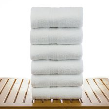 "16"" x 30"" - 4.5 lbs/doz - 100% Cotton Eco White Hand Towels-Robemart.com"