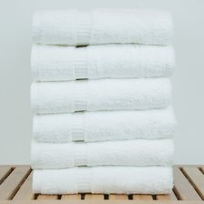 "16"" x 30"" - 5.5 lbs/doz - %100 Turkish Cotton White Hand Towel - Dobby Border-Robemart.com"