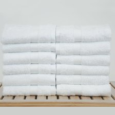 "13"" x 13"" - 1.7 lbs/doz - Turkish Cotton Bamboo Blended Ultra Soft White Washcloth - 12 Pack (Dozen)-Robemart.com"