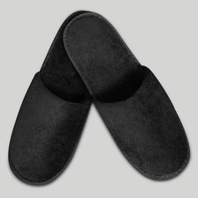 Black Closed Toe Adult Velour Slippers-Robemart.com